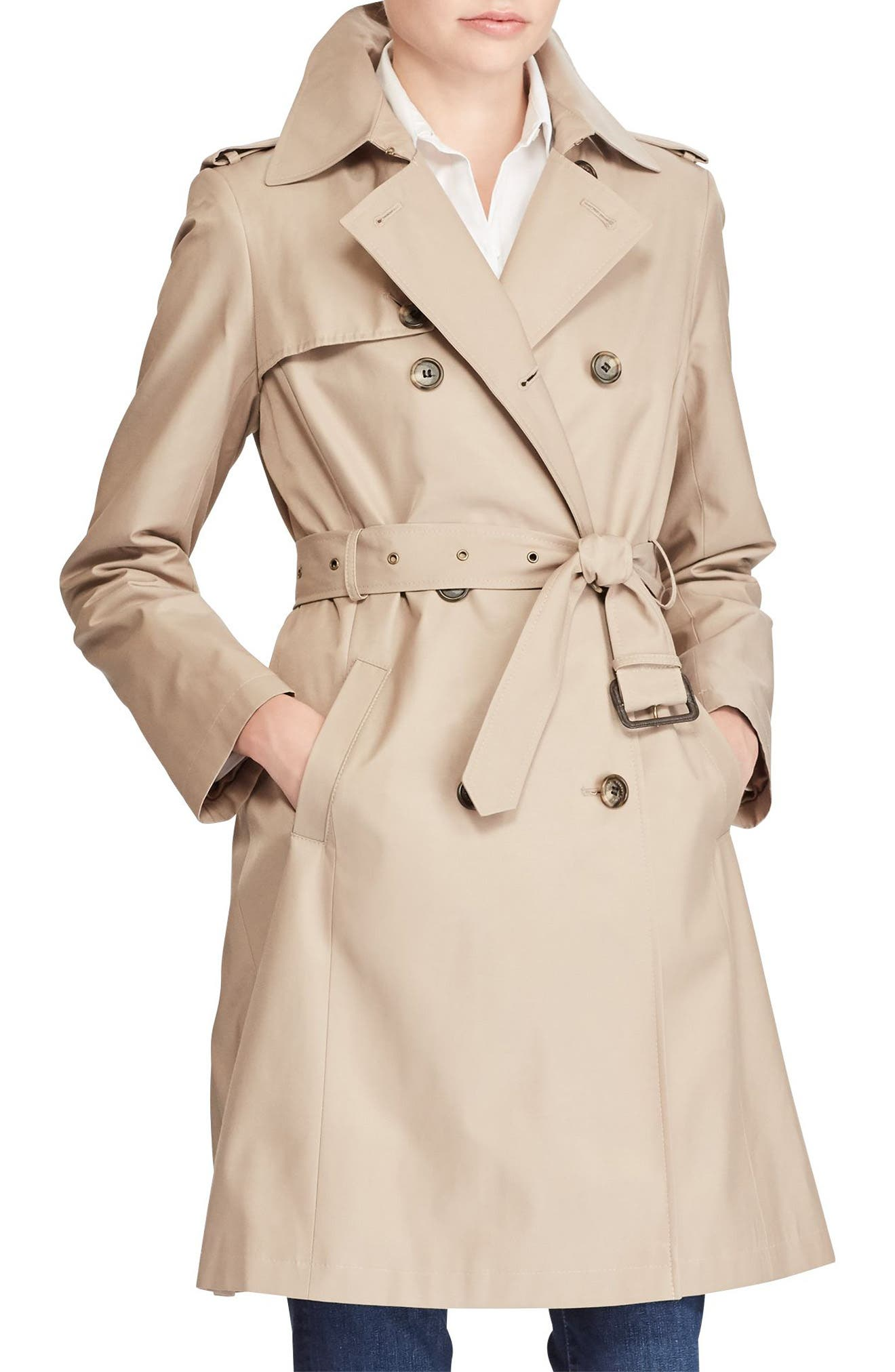 Double Breasted Trench Coat,                             Main thumbnail 1, color,                             Sand