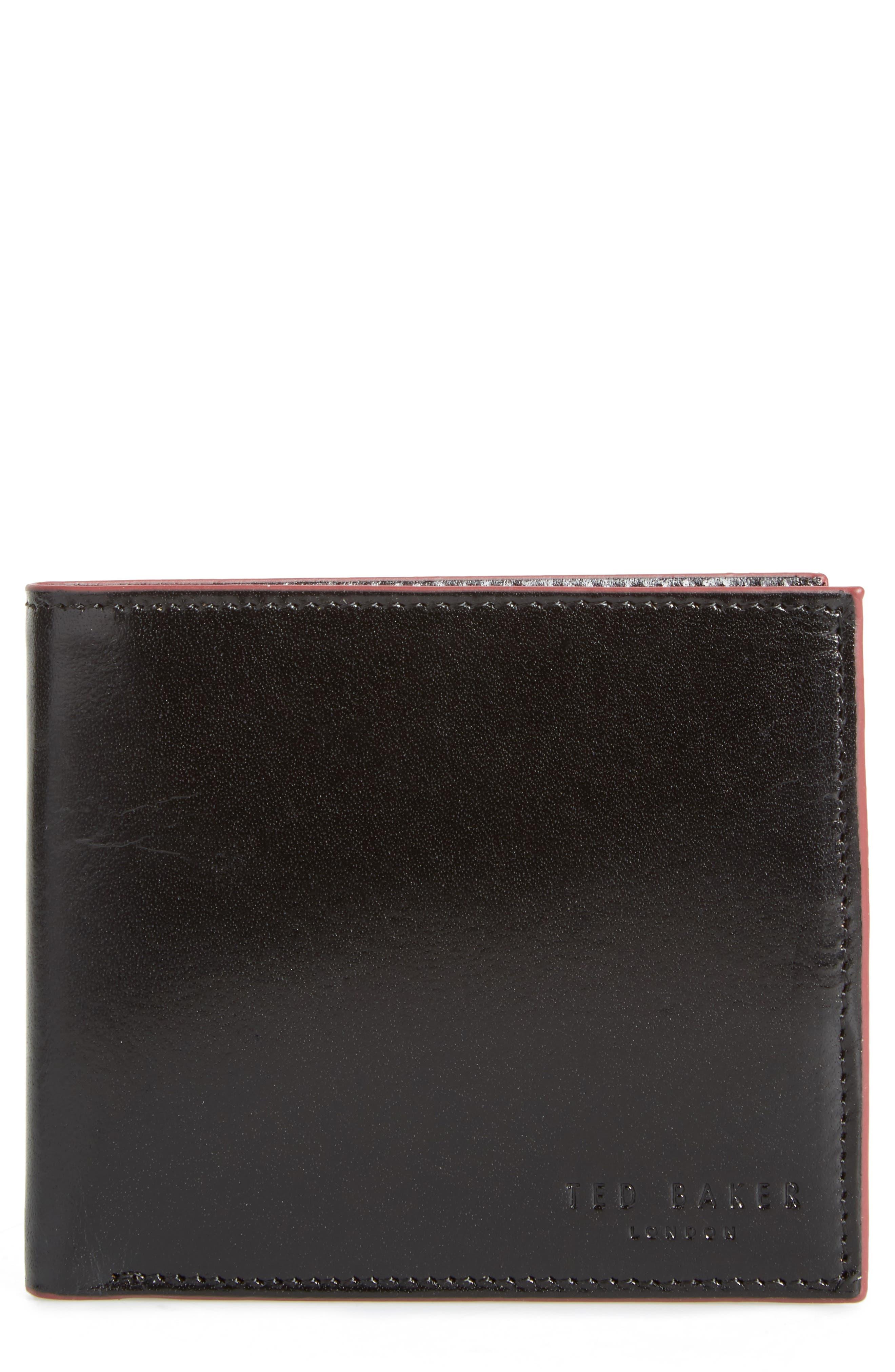 Loganz Leather Wallet,                         Main,                         color, Black