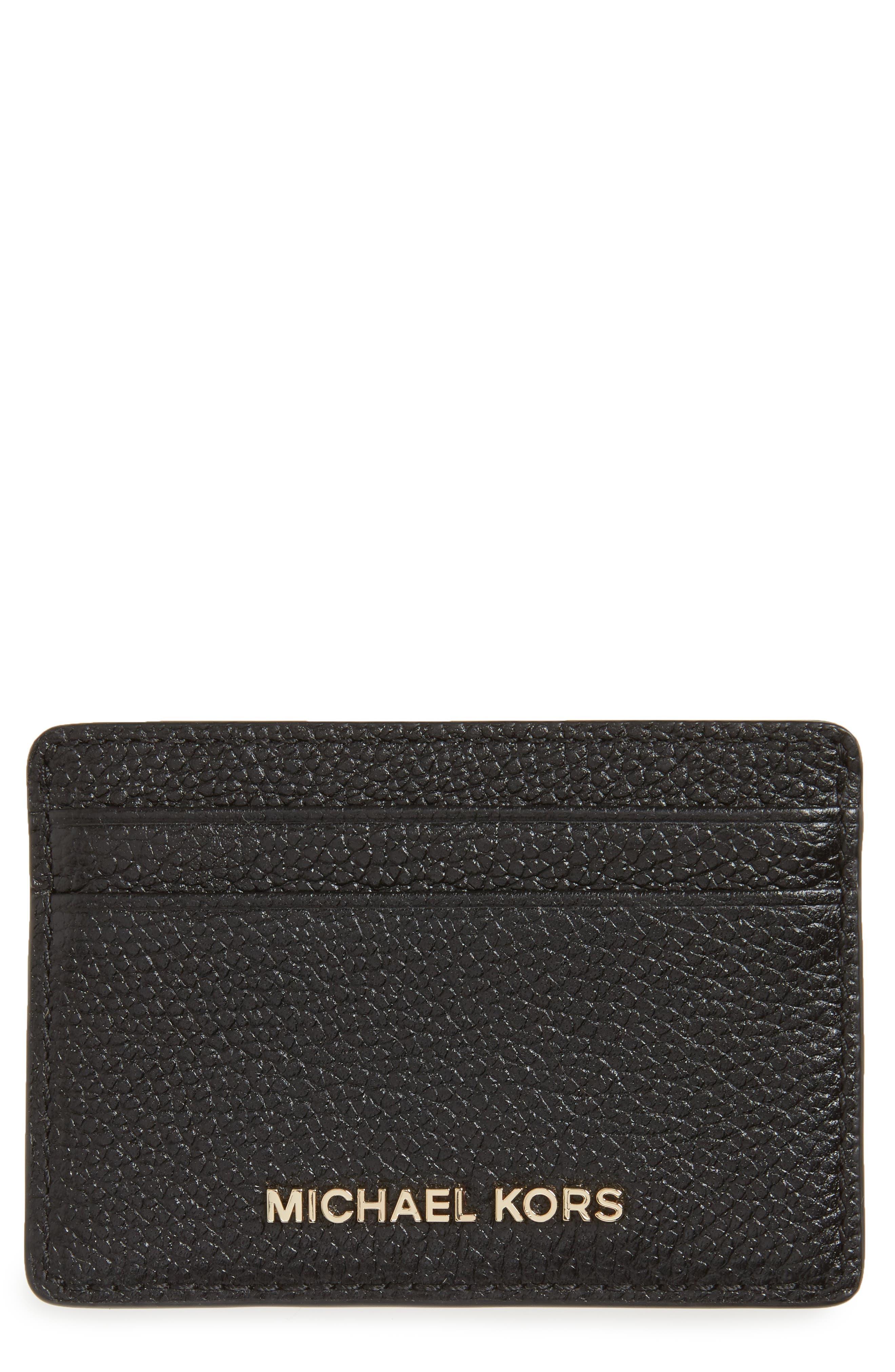 Money Pieces Leather Card Case,                         Main,                         color, Black