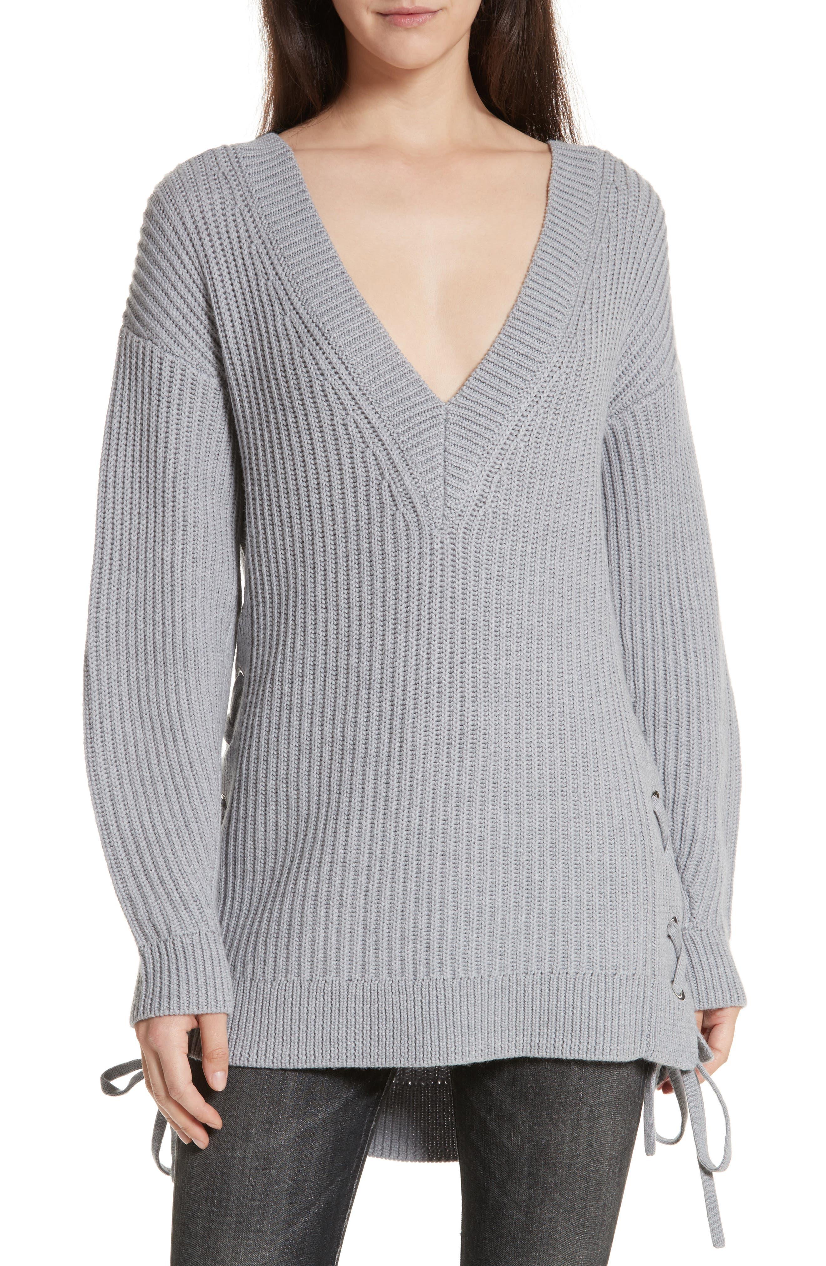Ivy Side Tie Sweater,                         Main,                         color, Light Grey Melange