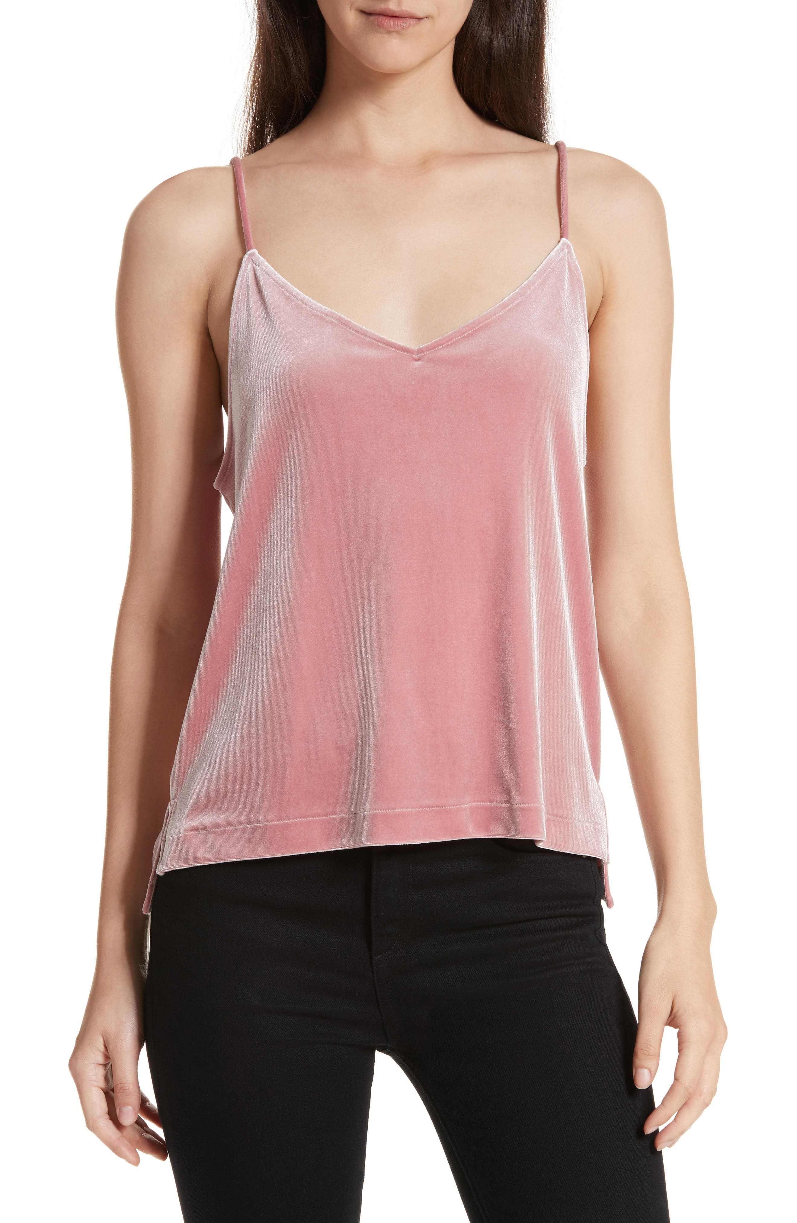 Amber Velvet Camisole,                             Main thumbnail 1, color,                             Deep Pink