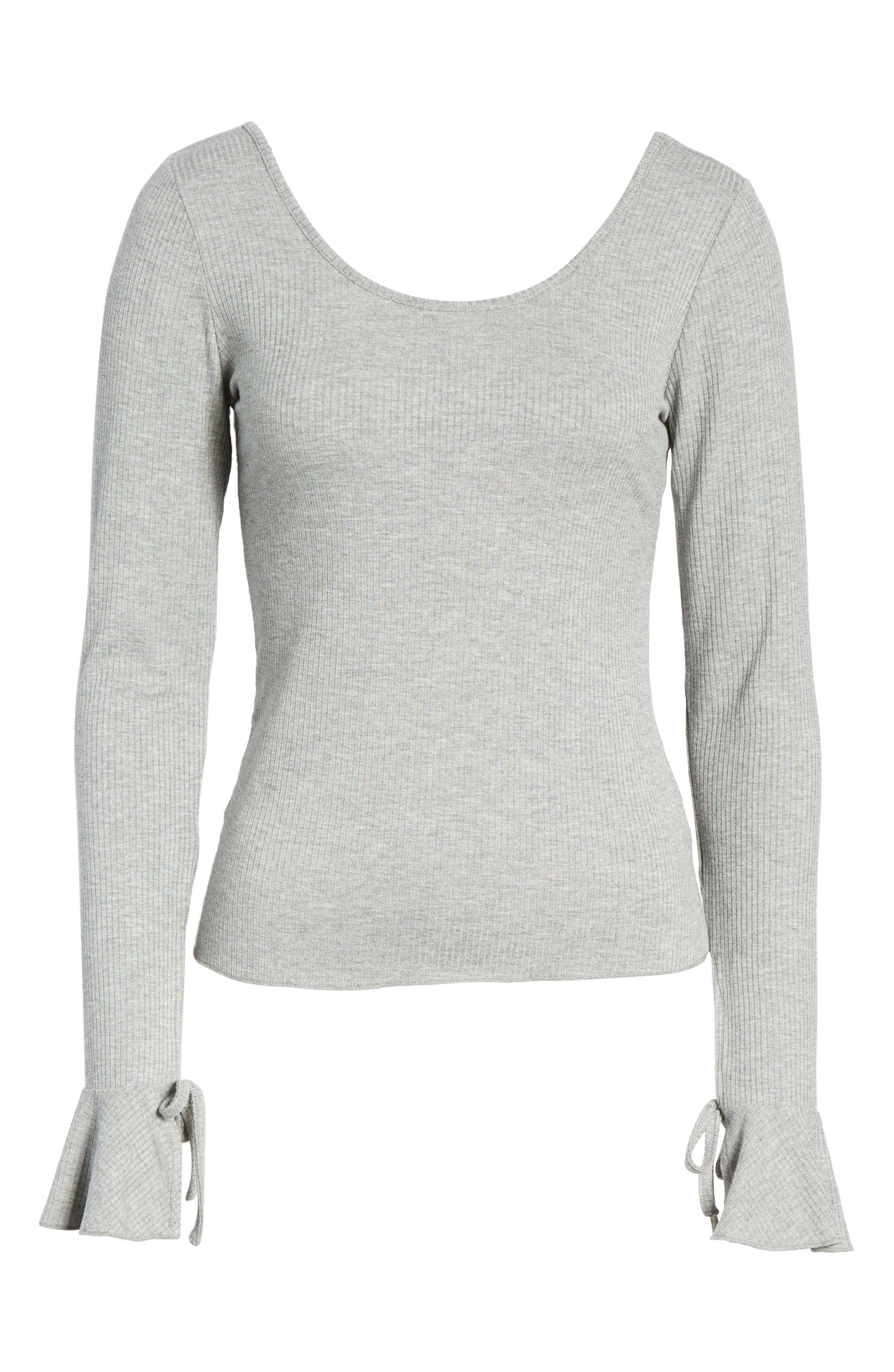 Tie Cuff Knit Top,                             Alternate thumbnail 6, color,                             Heather Grey