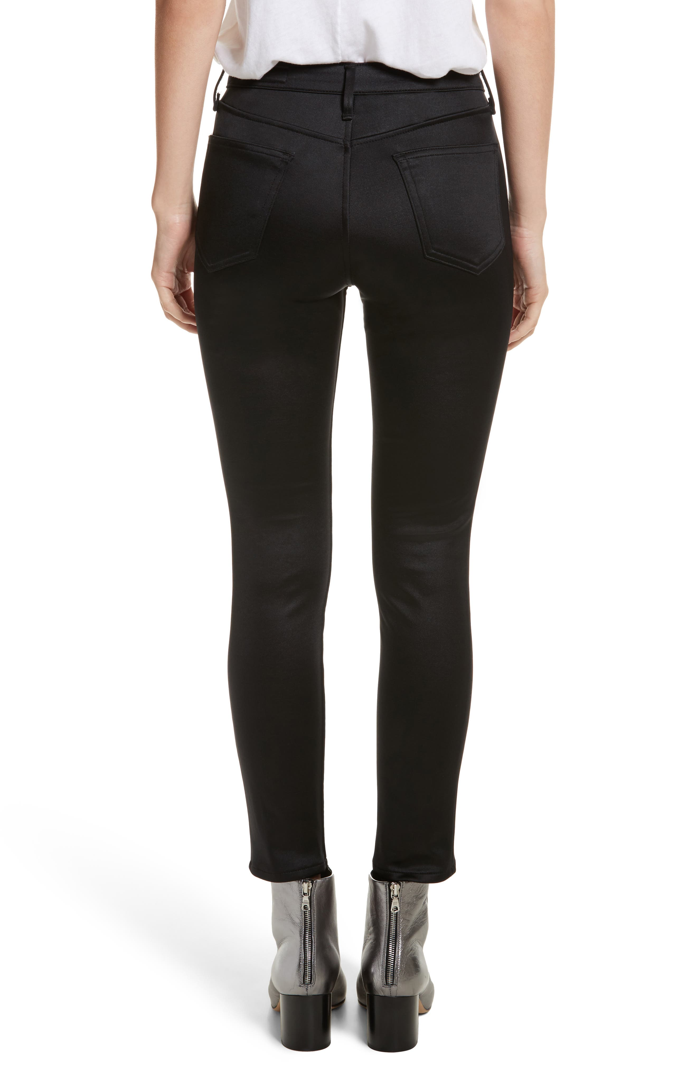 High Waist Ankle Skinny Jeans,                             Alternate thumbnail 2, color,                             Black Sateen