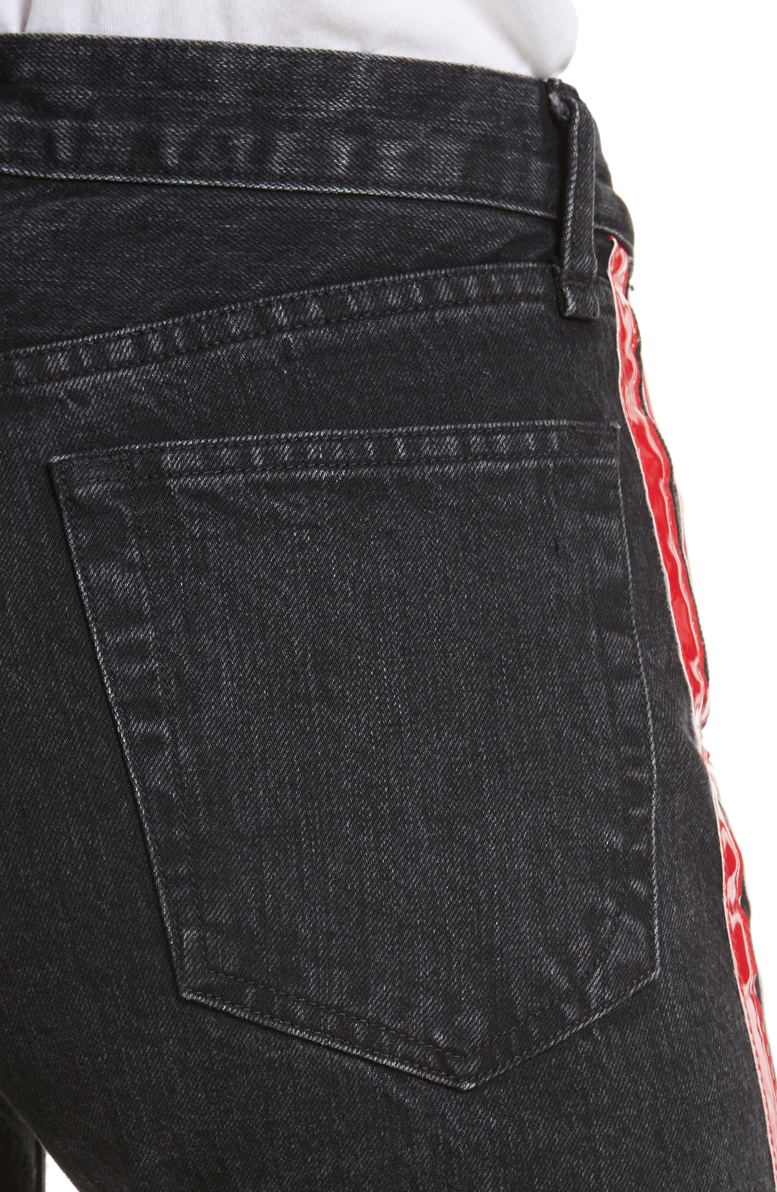 High Waist Straight Leg Jeans,                             Alternate thumbnail 4, color,                             Washed Black
