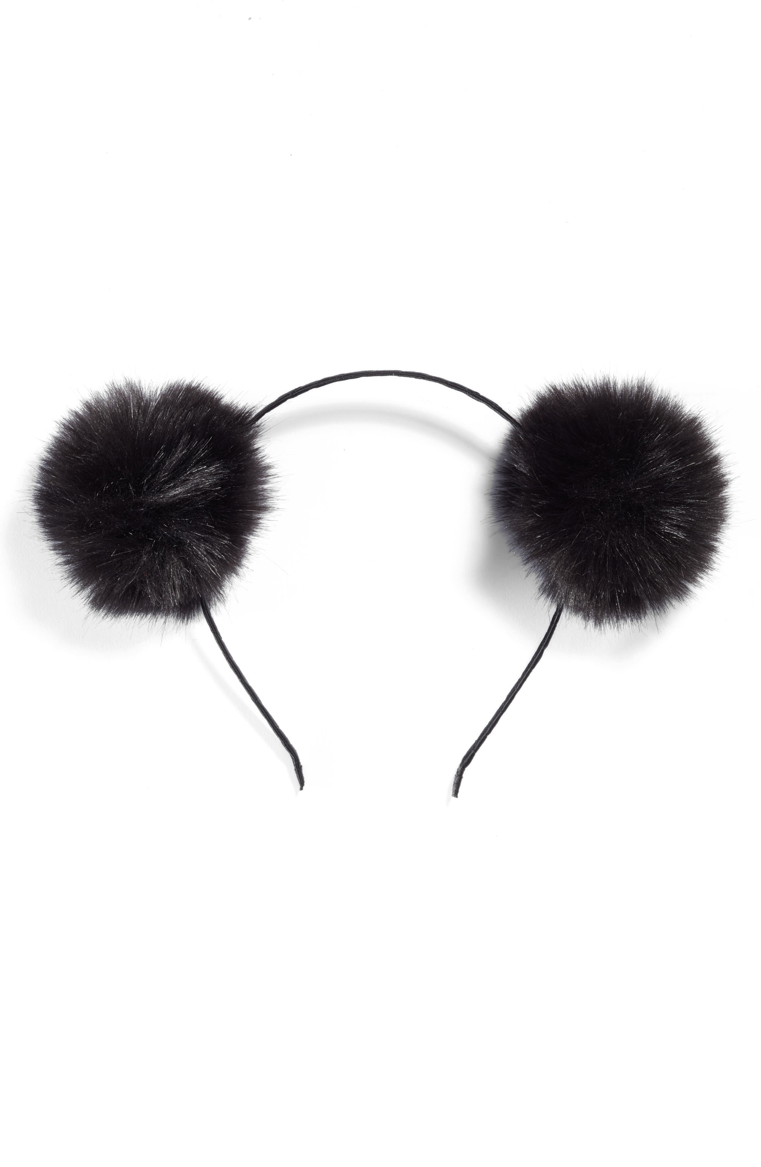 Double Faux Fur Pom Headband,                             Main thumbnail 1, color,                             Black