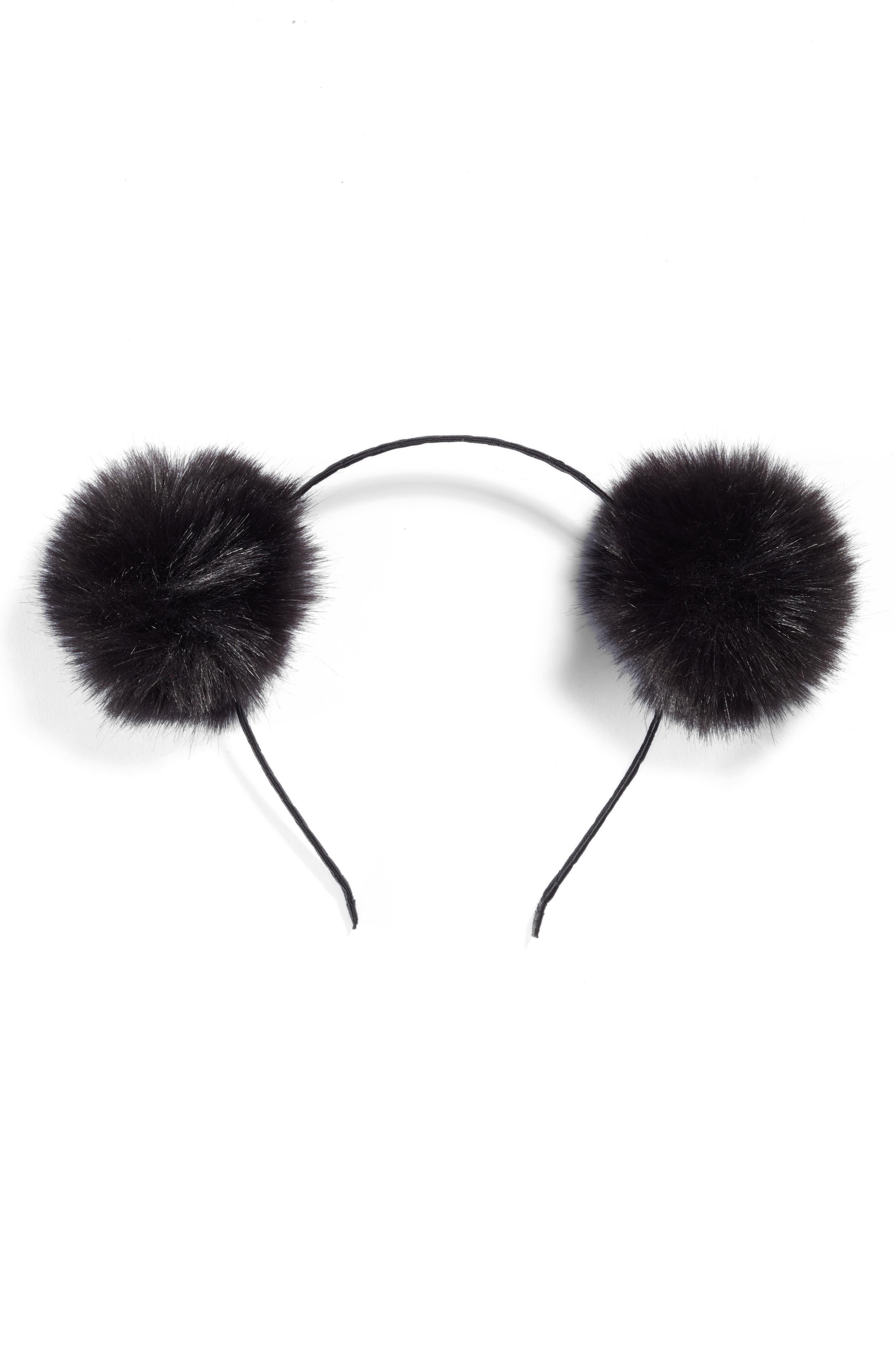 Double Faux Fur Pom Headband,                         Main,                         color, Black