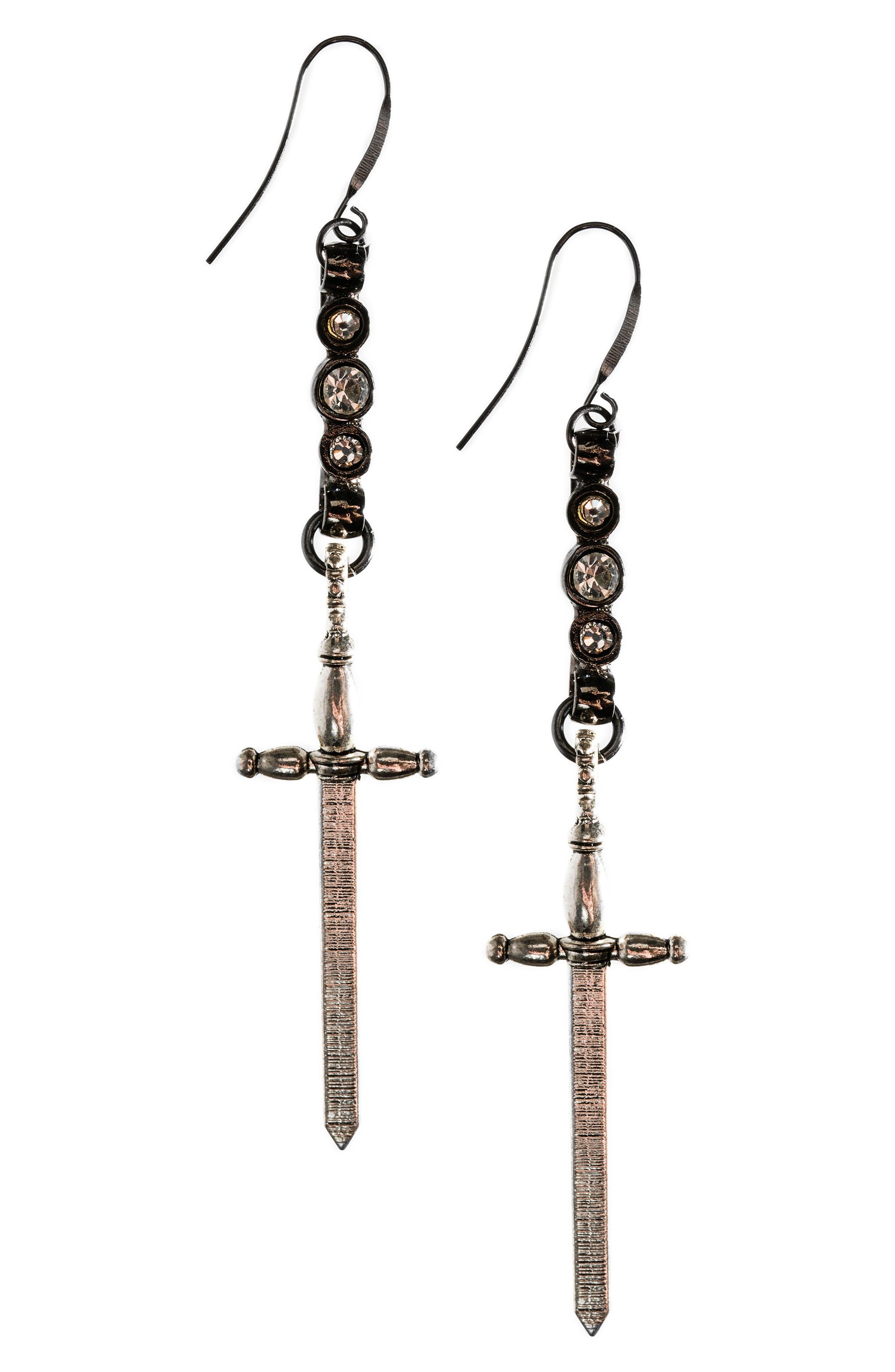 Spike Sword Drop Earrings,                             Main thumbnail 1, color,                             Silver/ Gunmetal