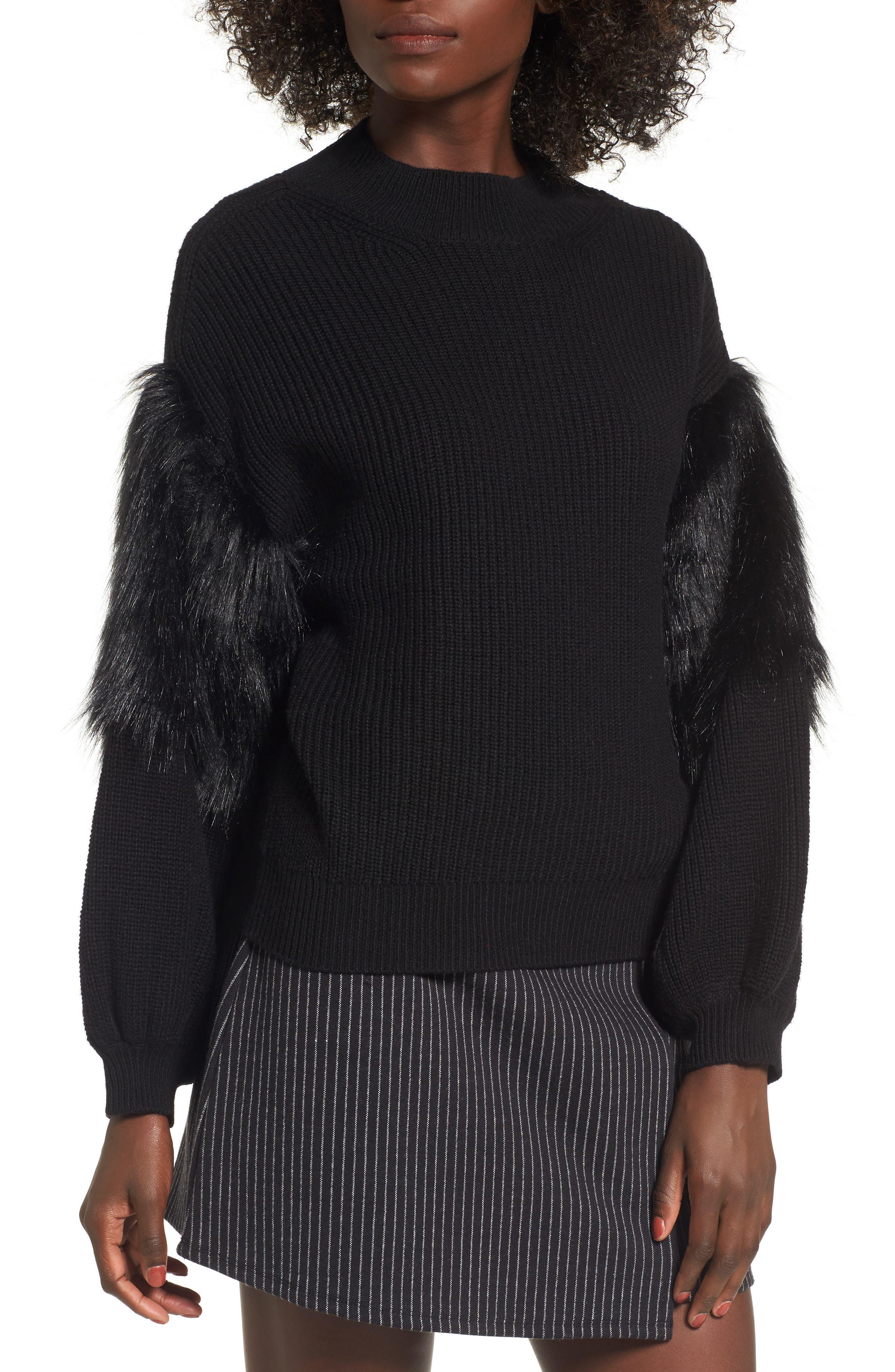 Faux Fur Sleeve Sweater,                         Main,                         color, Black