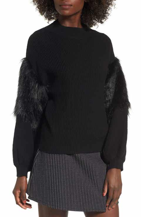 Leith Faux Fur Sleeve Sweater