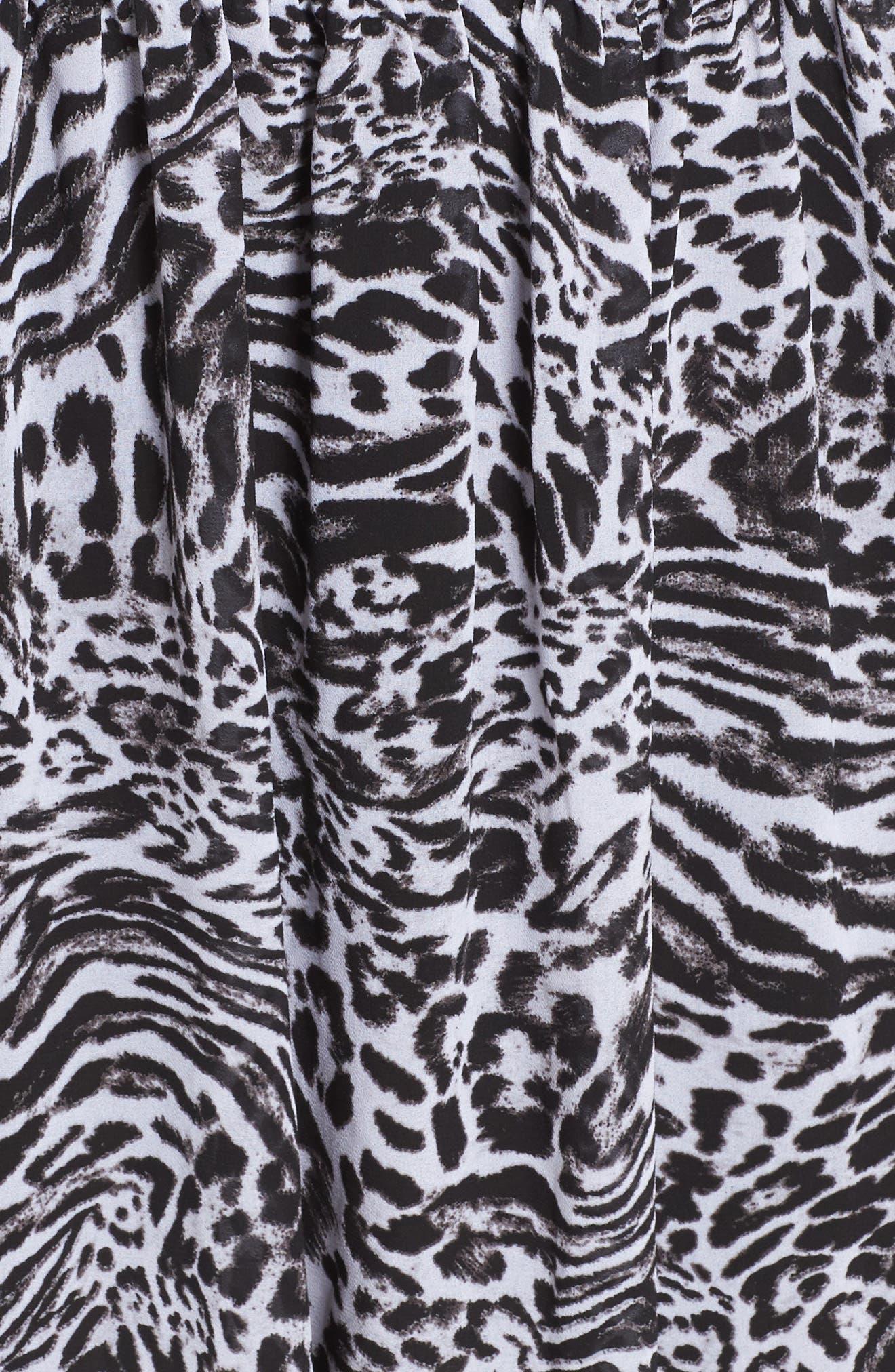 Big Cat Print Cold Shoulder Dress,                             Alternate thumbnail 5, color,                             Black