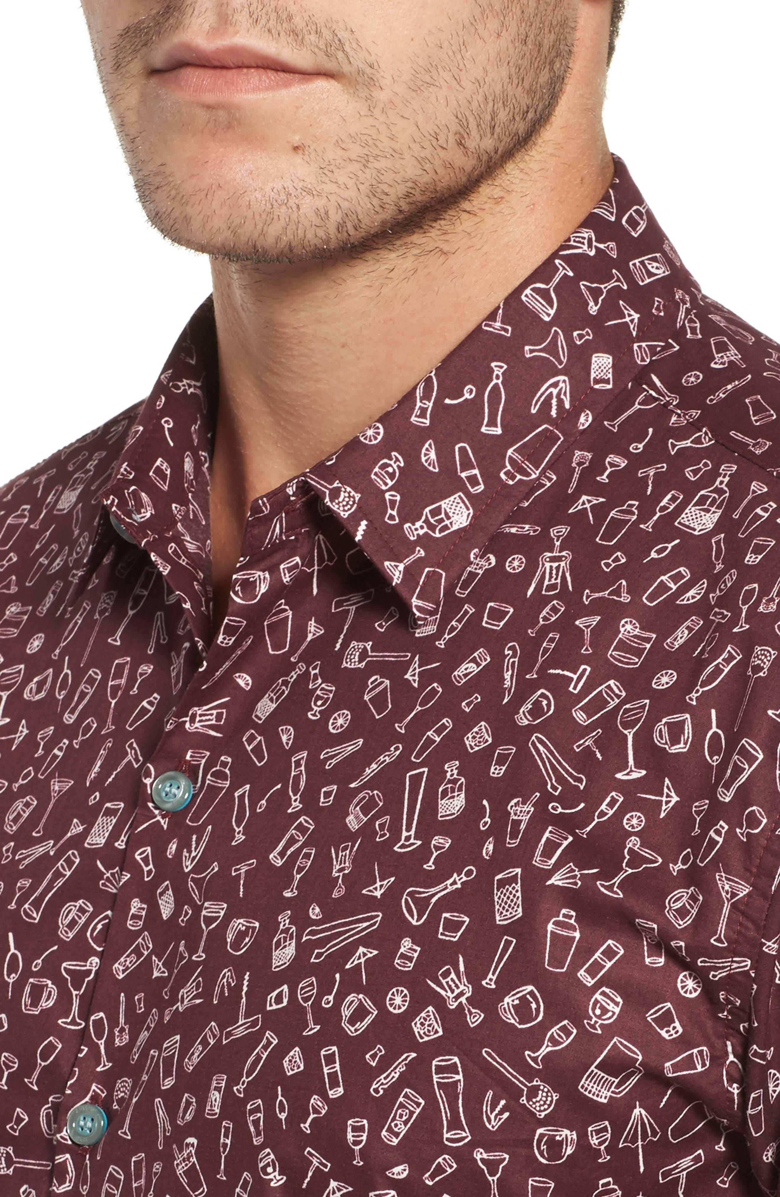 5 PM Slim Fit Camp Shirt,                             Alternate thumbnail 4, color,                             Wine