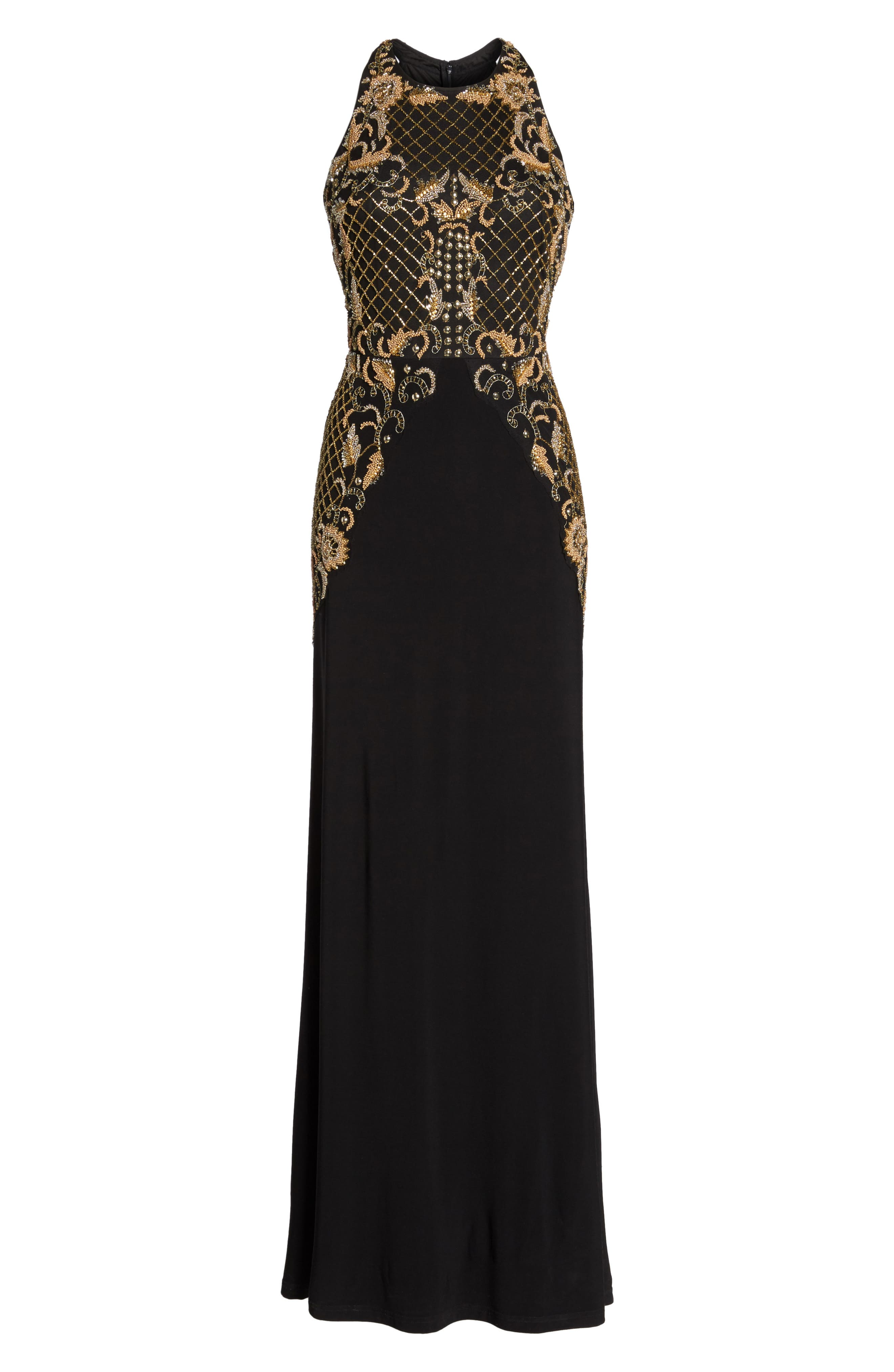 Beaded Gown,                             Alternate thumbnail 6, color,                             Black Gold