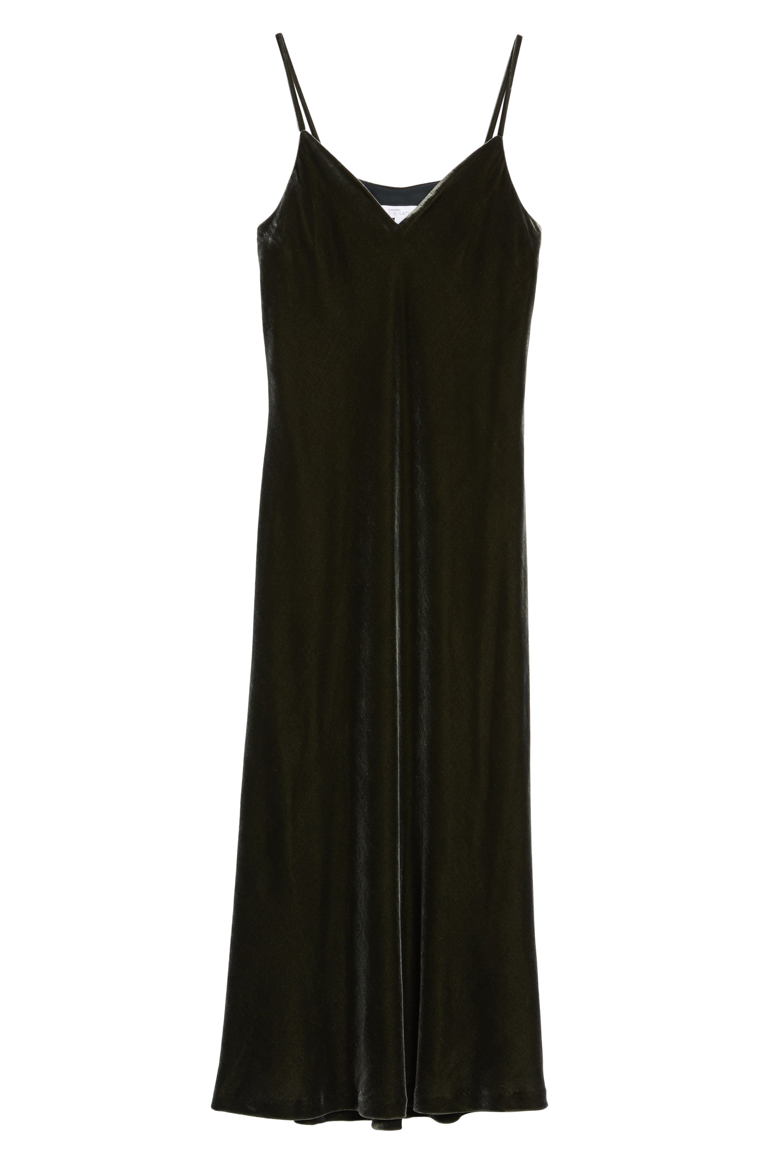Velvet Slipdress,                             Alternate thumbnail 6, color,                             Olive Sarma