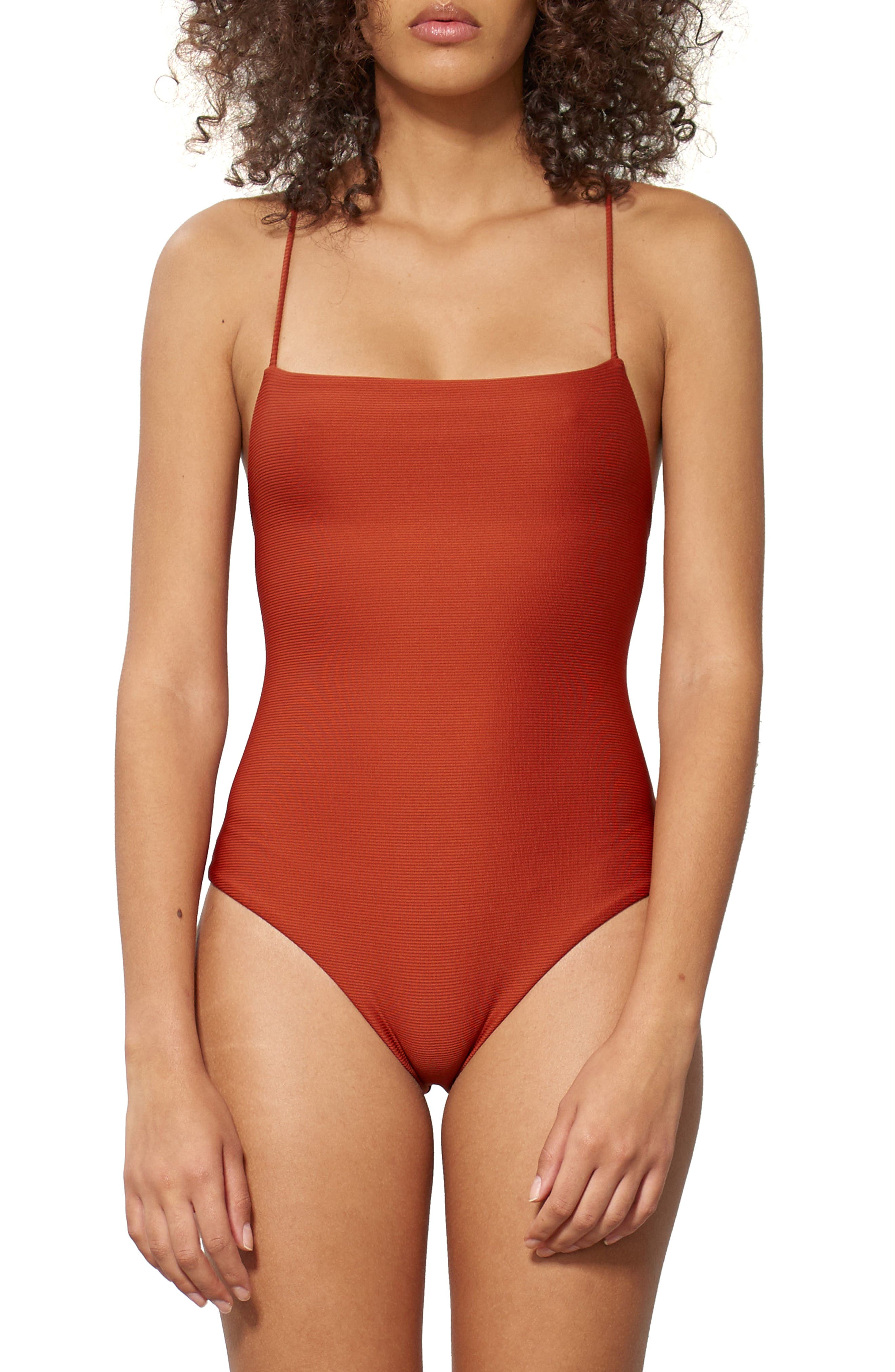 Olympia One-Piece Swimsuit,                         Main,                         color, Rust