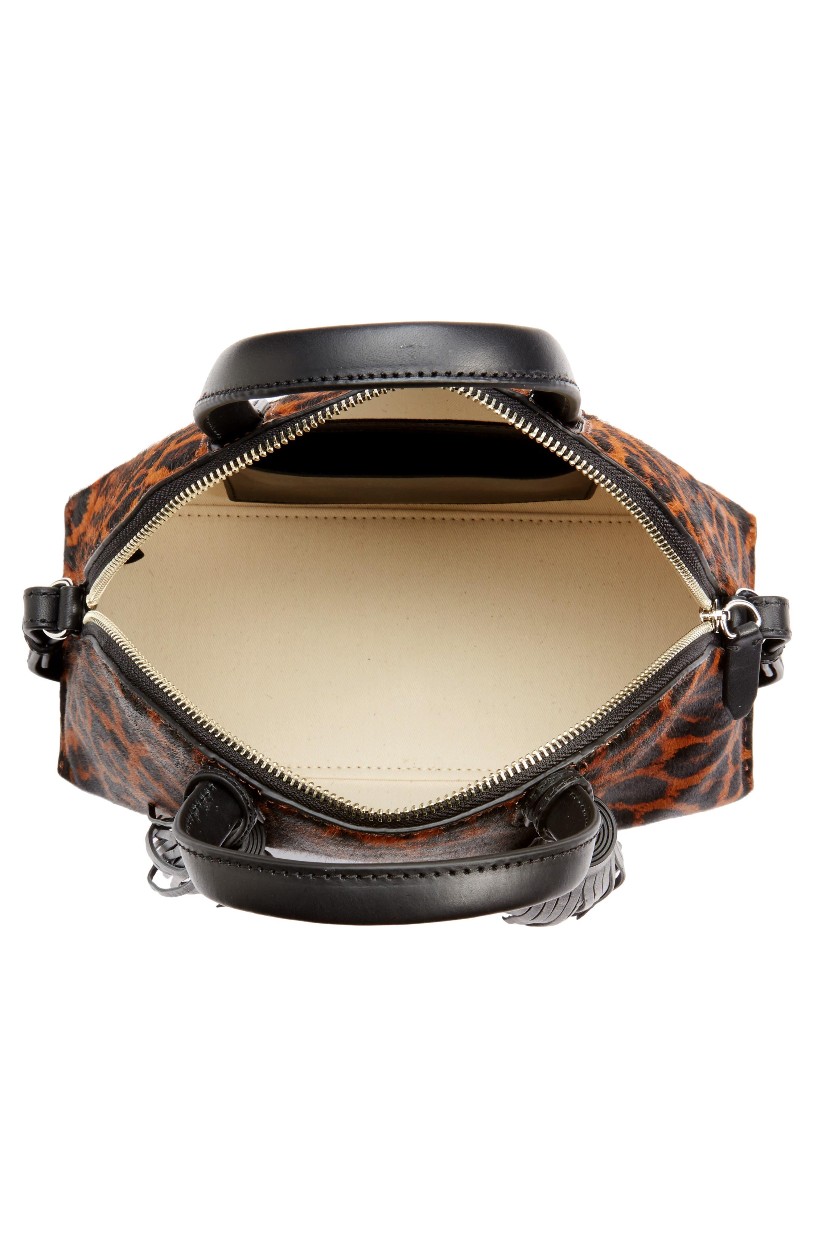 Genuine Calf Hair Dome Satchel,                             Alternate thumbnail 4, color,                             Leopard