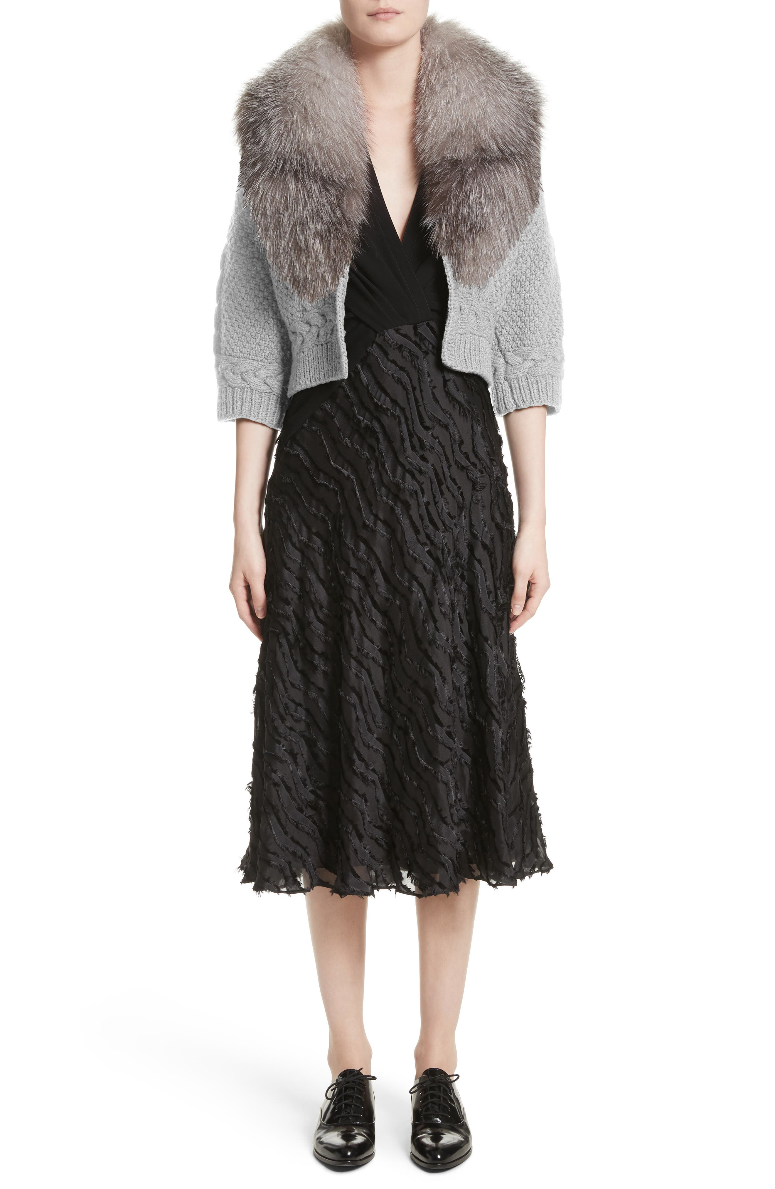 Alternate Image 6  - Yigal Azrouël Merino Wool & Cashmere Knit Bolero with Removable Genuine Fox Fur Collar