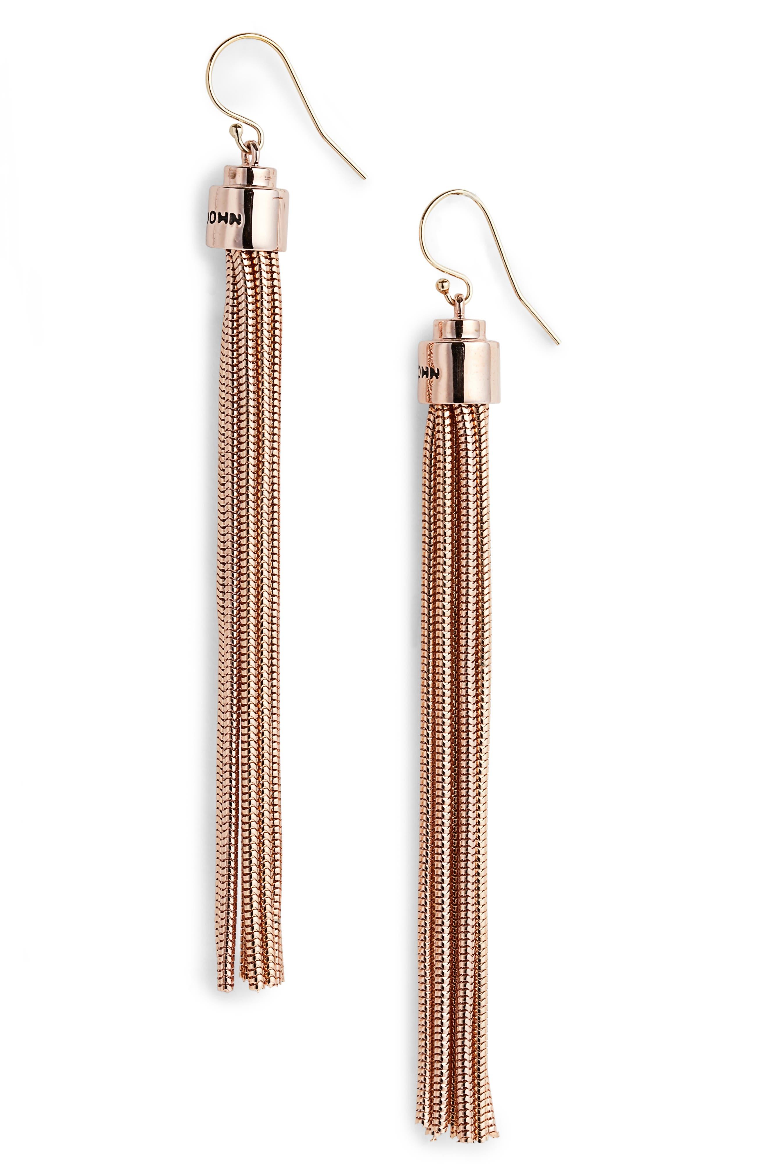 Chain Tassel Earrings,                         Main,                         color, Rose Gold