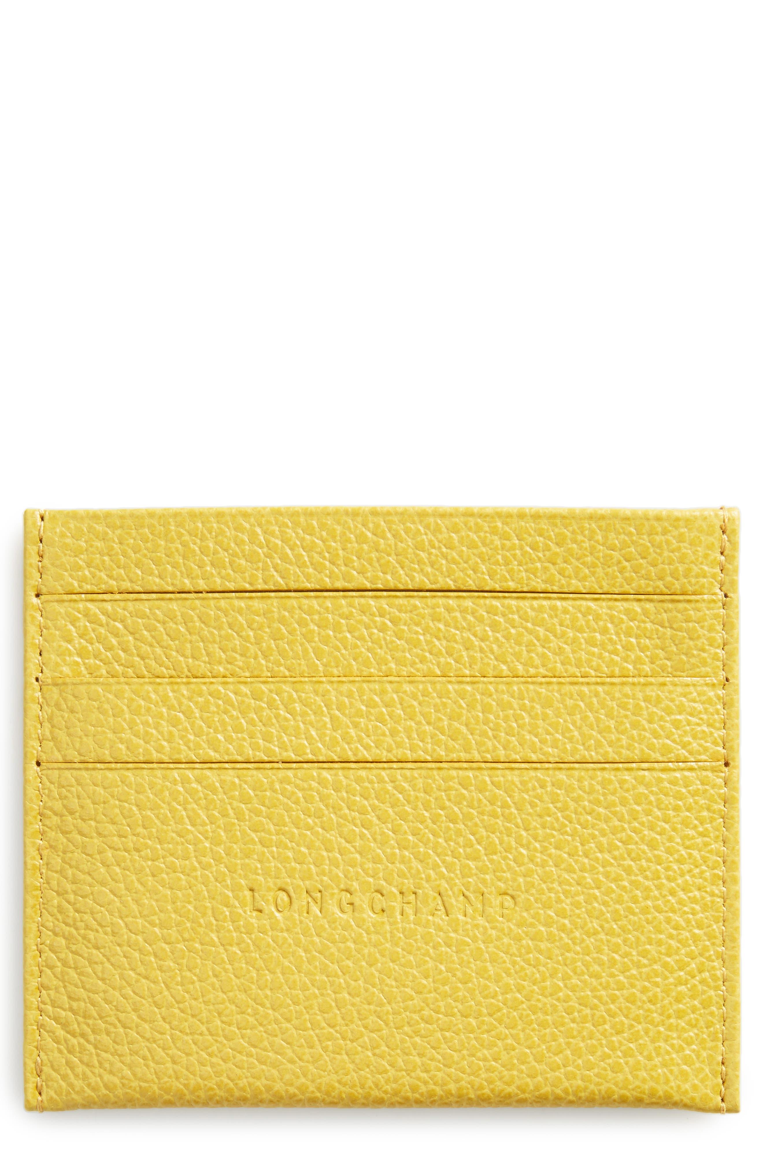 Main Image - Longchamp 'Le Foulonne' Pebbled Leather Card Holder