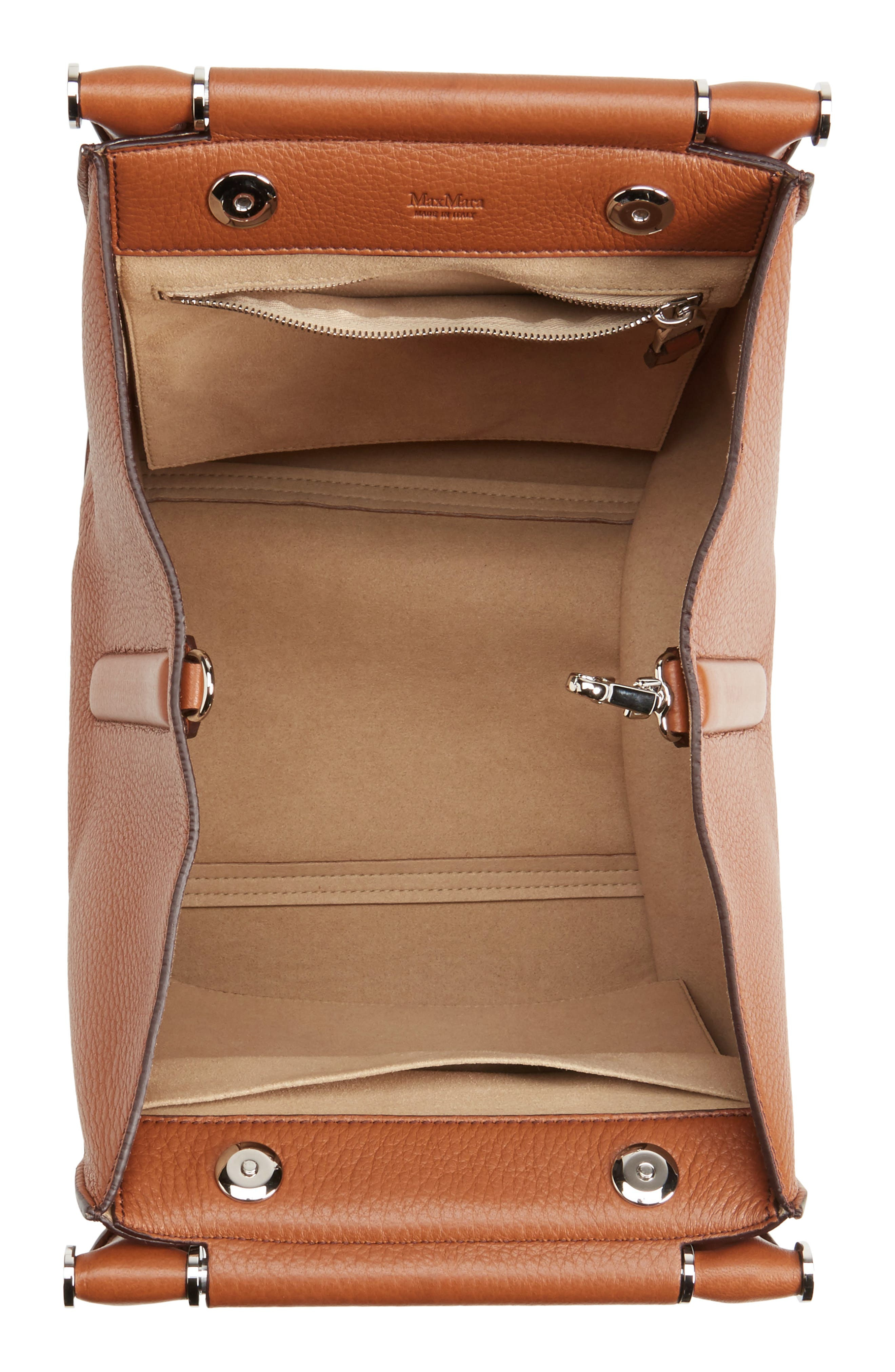 Deerskin Leather Satchel,                             Alternate thumbnail 4, color,                             Cuoio