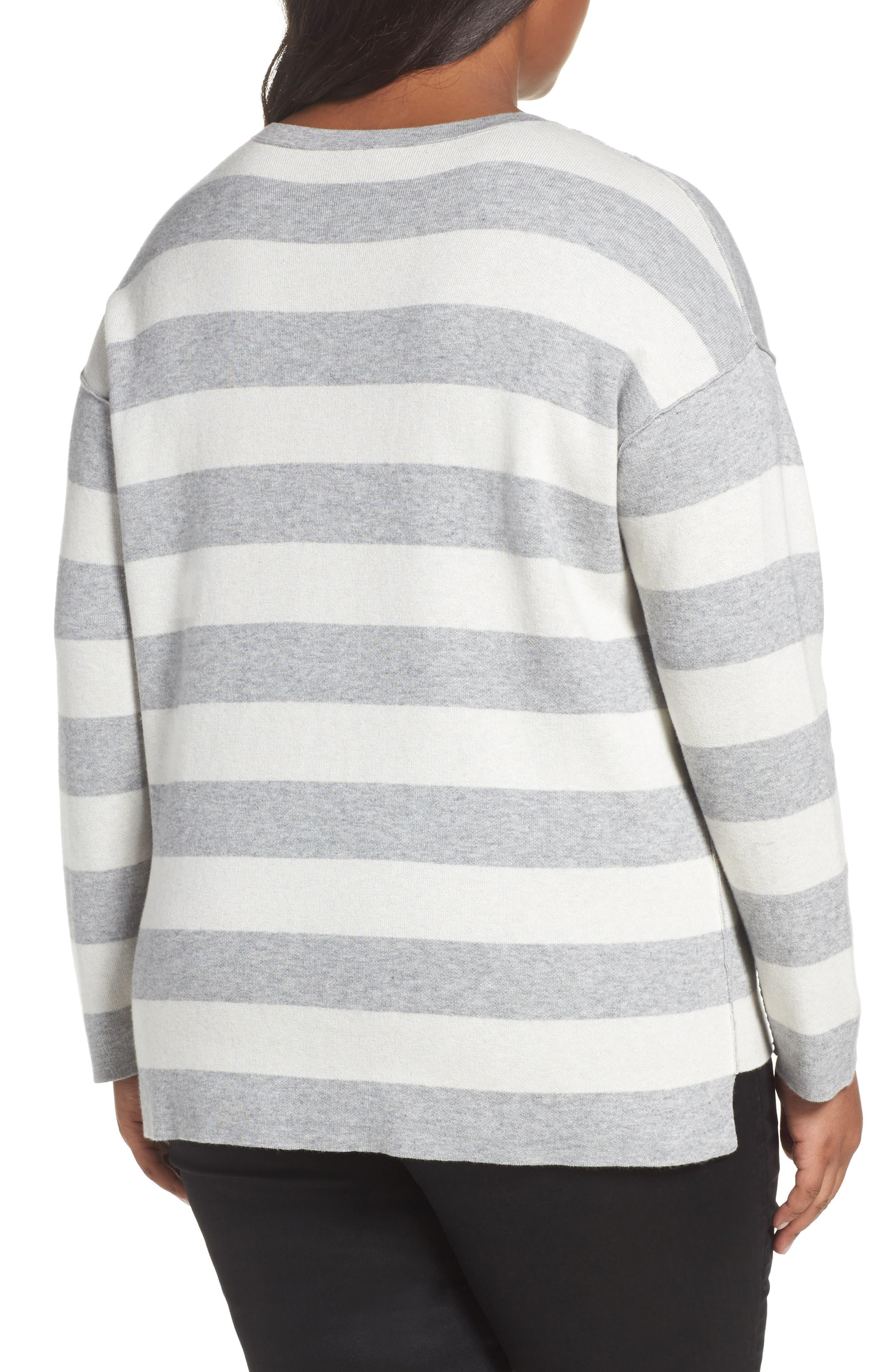Alternate Image 2  - Eileen Fisher Stripe Organic Cotton Blend Top (Plus Size)