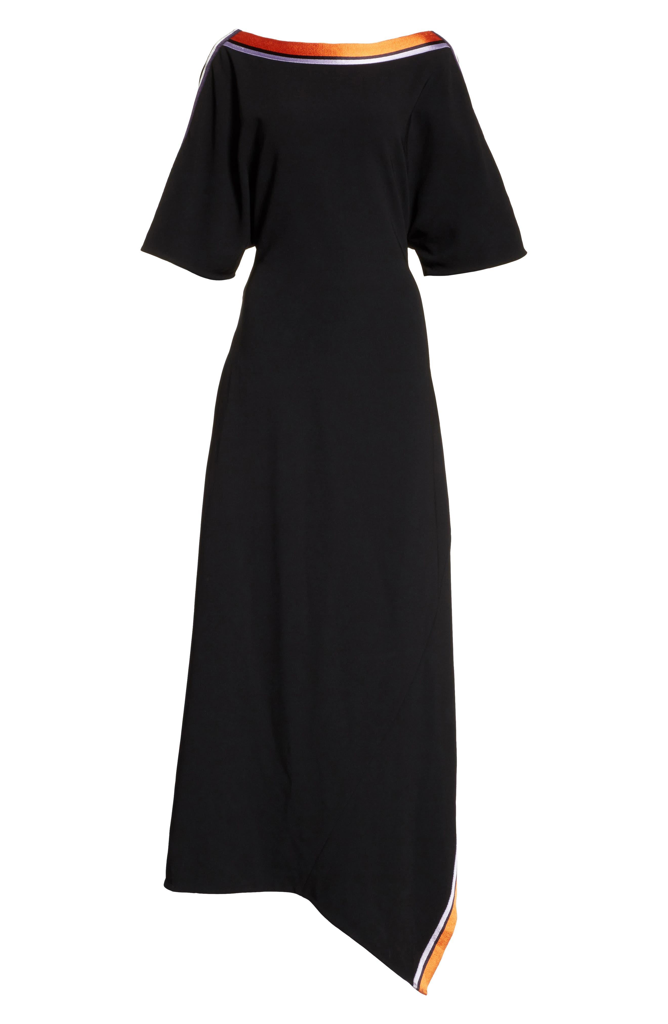 Open Back Ribbon Trim Dress,                             Alternate thumbnail 6, color,                             Black