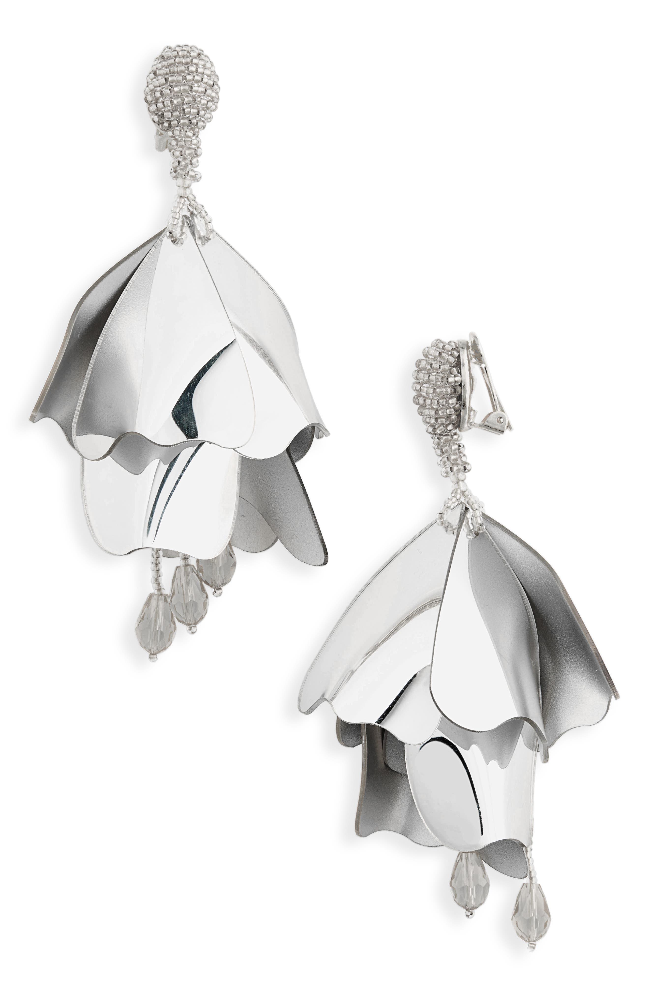 Large Impatiens Flower Clip Earrings,                         Main,                         color, Silver