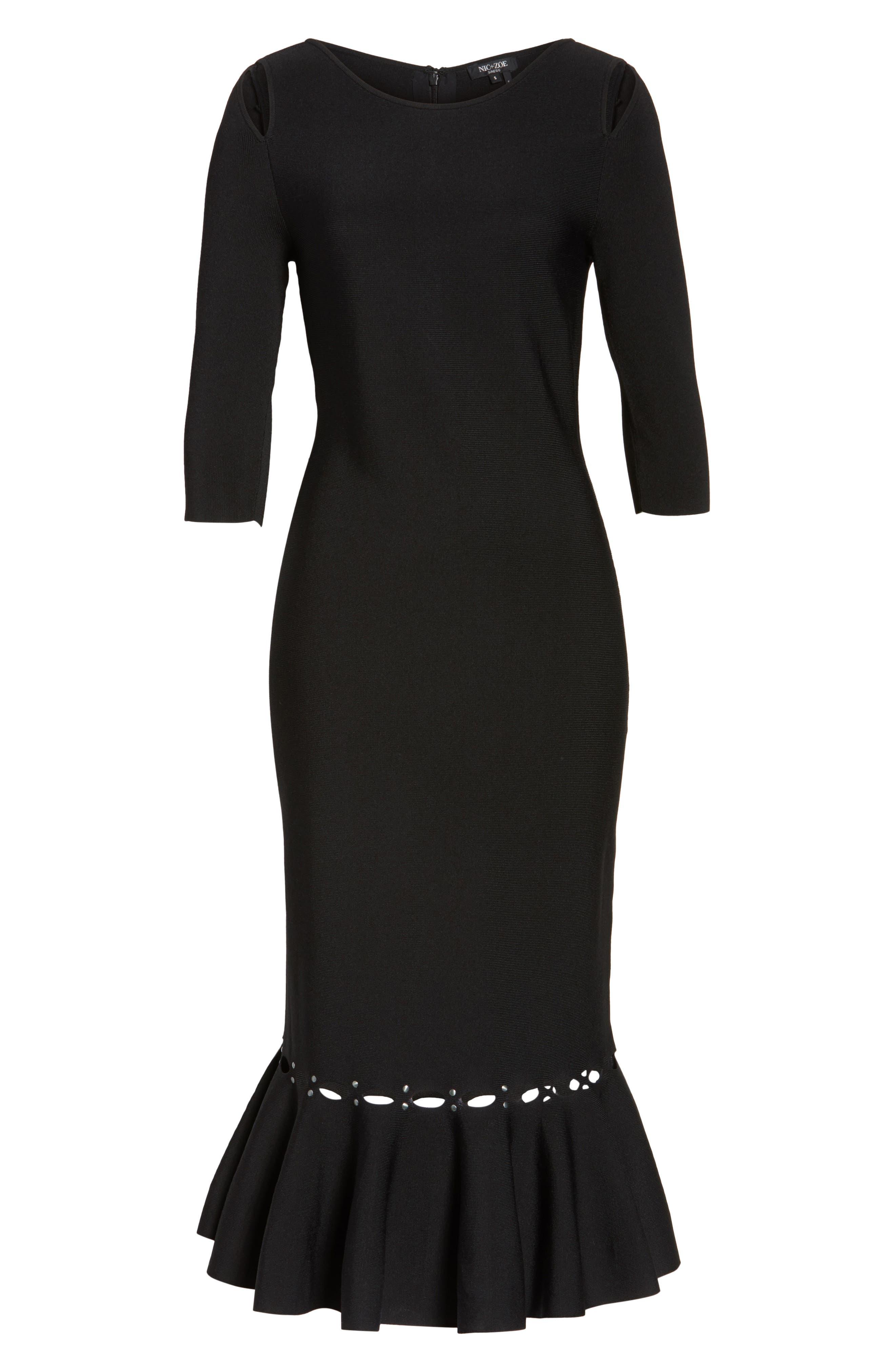 Flared Hem Midi Dress,                             Alternate thumbnail 6, color,                             Black Onyx