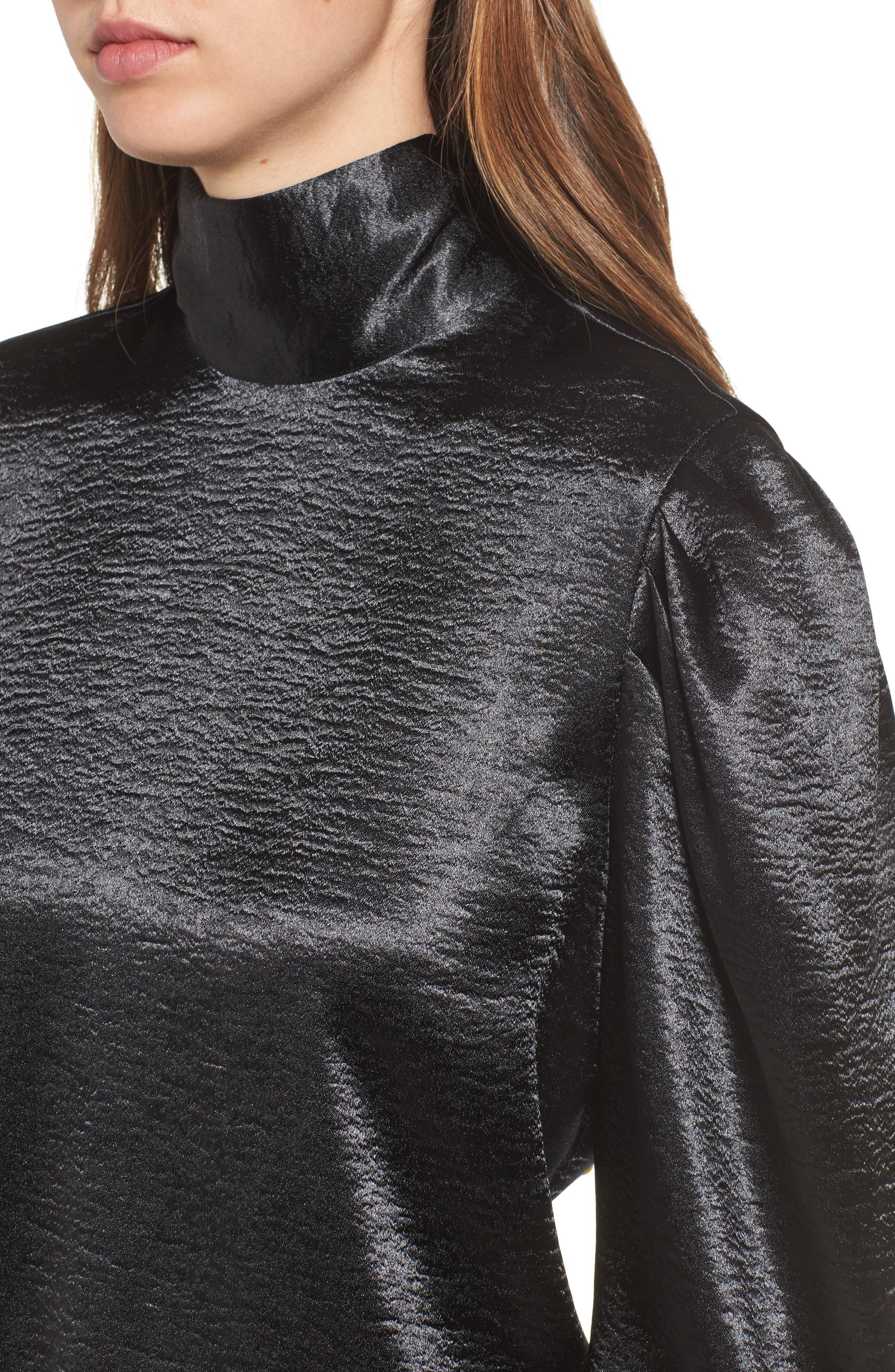 Bloused Sleeve Top,                             Alternate thumbnail 4, color,                             Black