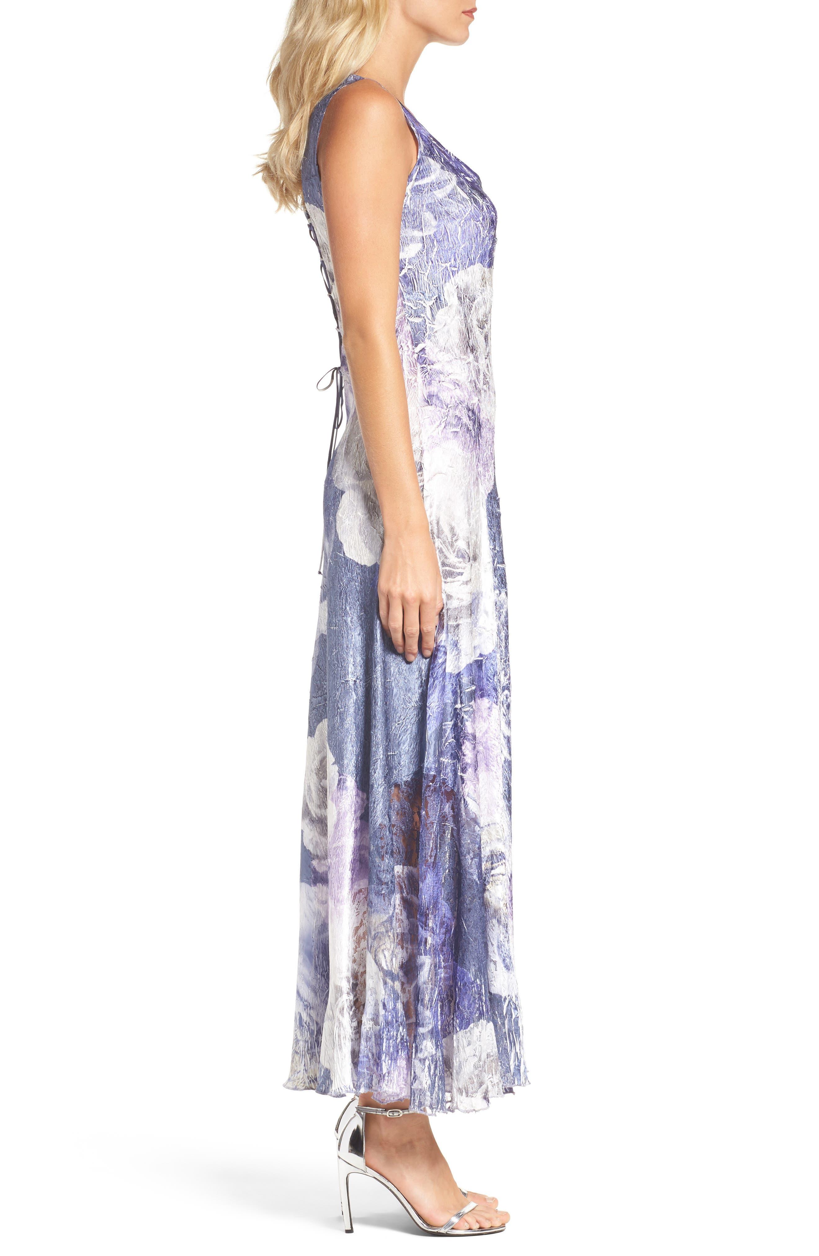 Lace-Up Back Print Maxi Dress with Shawl,                             Alternate thumbnail 3, color,                             Indigo Shadow