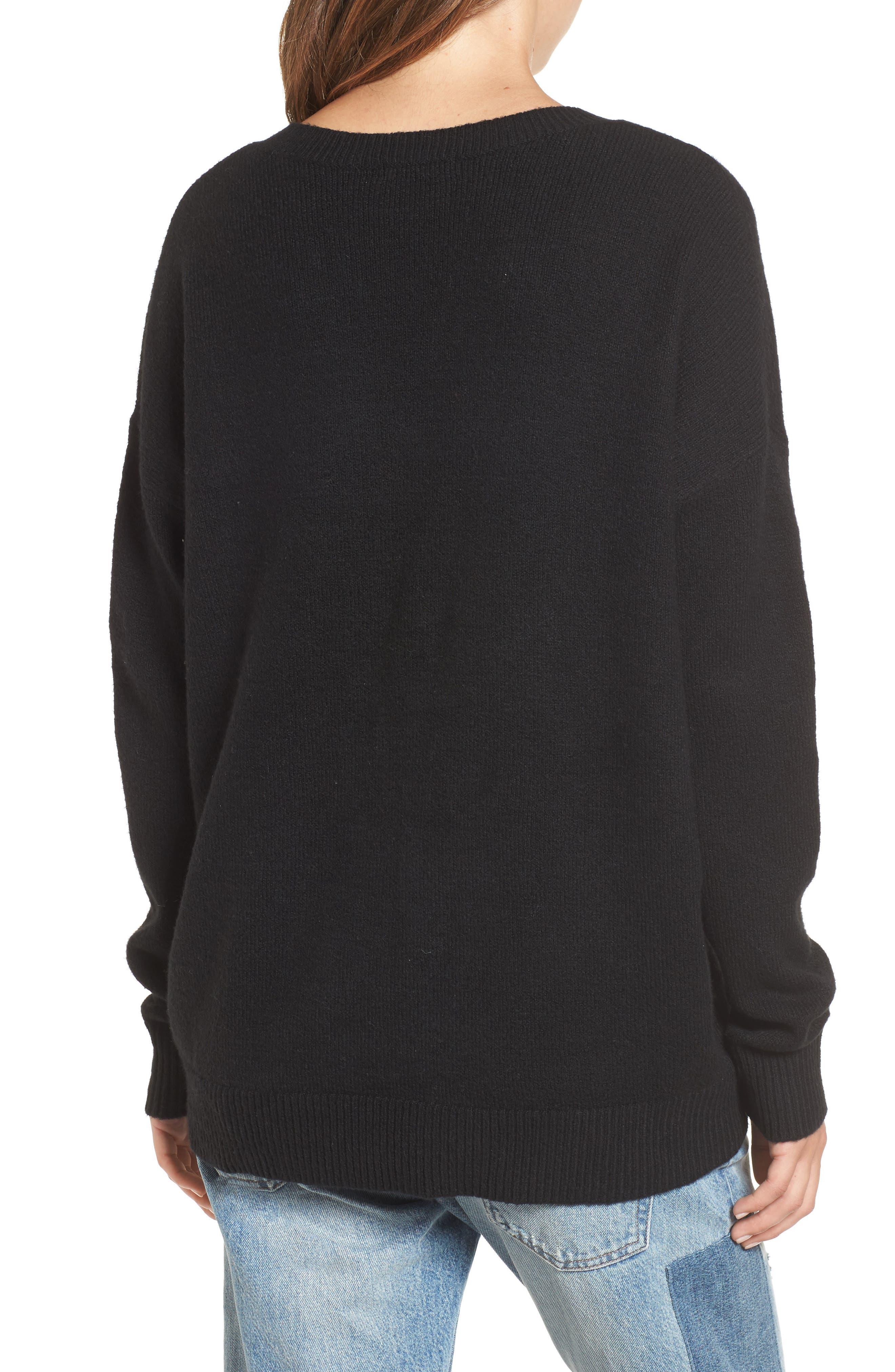 V-Neck High/Low Sweater,                             Alternate thumbnail 4, color,                             Black