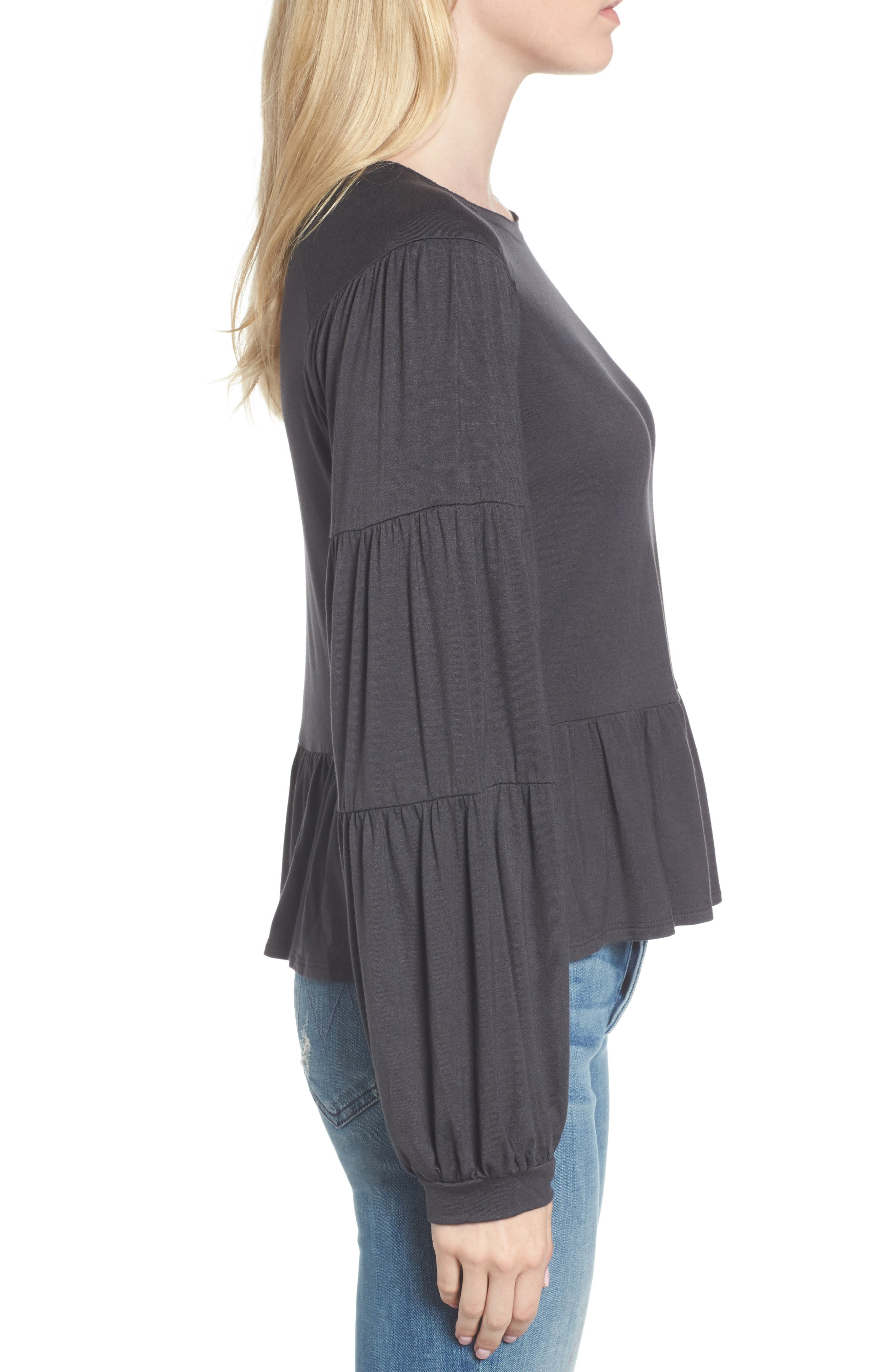 Peplum Tee,                             Alternate thumbnail 3, color,                             Grey Phantom