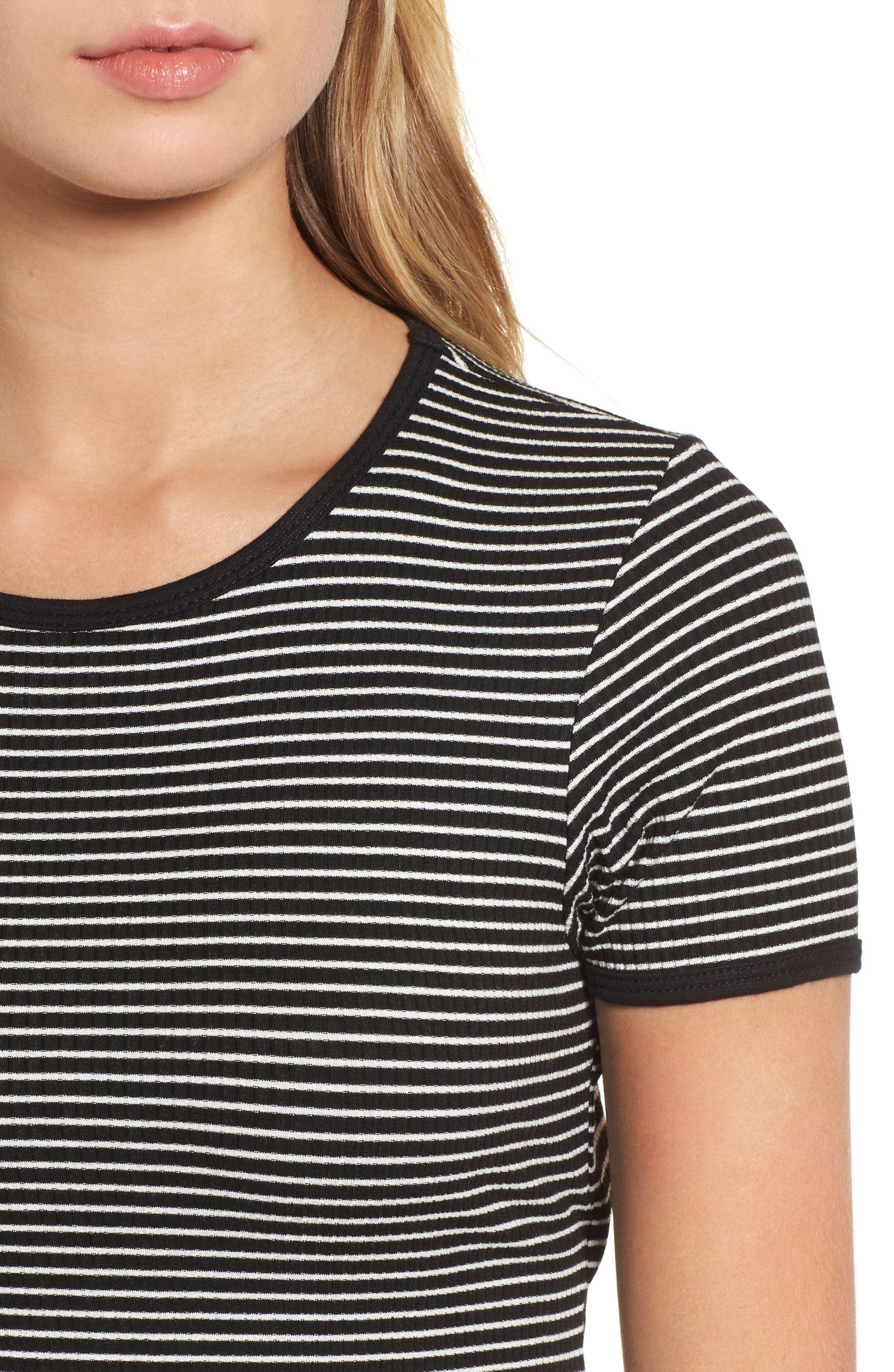 Cutout Stripe T-Shirt Dress,                             Alternate thumbnail 4, color,                             White/ Black