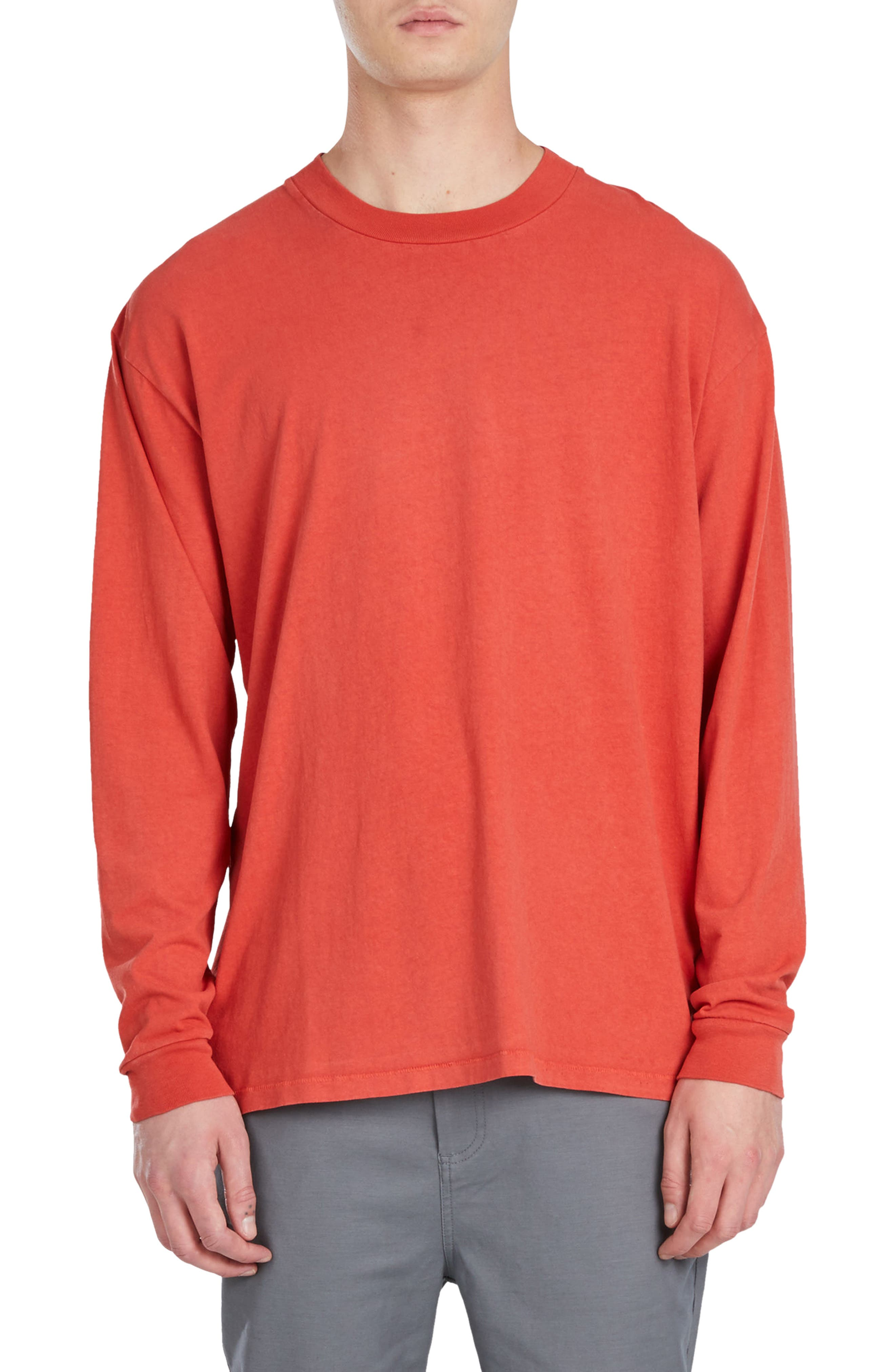 Boxy Long Sleeve T-Shirt,                         Main,                         color, Vintage Red