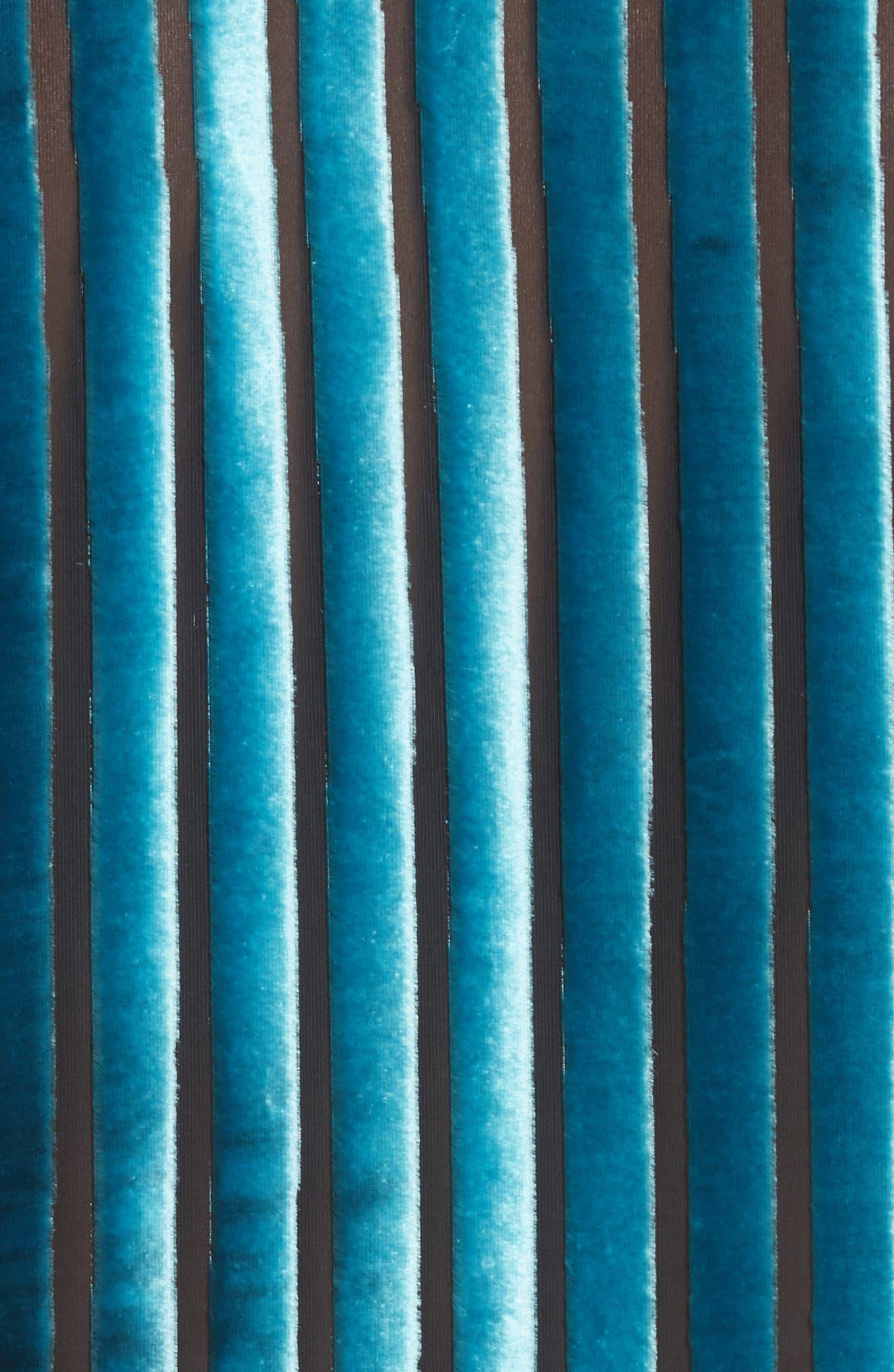 Diane von Furstenberg Velvet Stripe Blouse,                             Alternate thumbnail 5, color,                             Black/ Marine