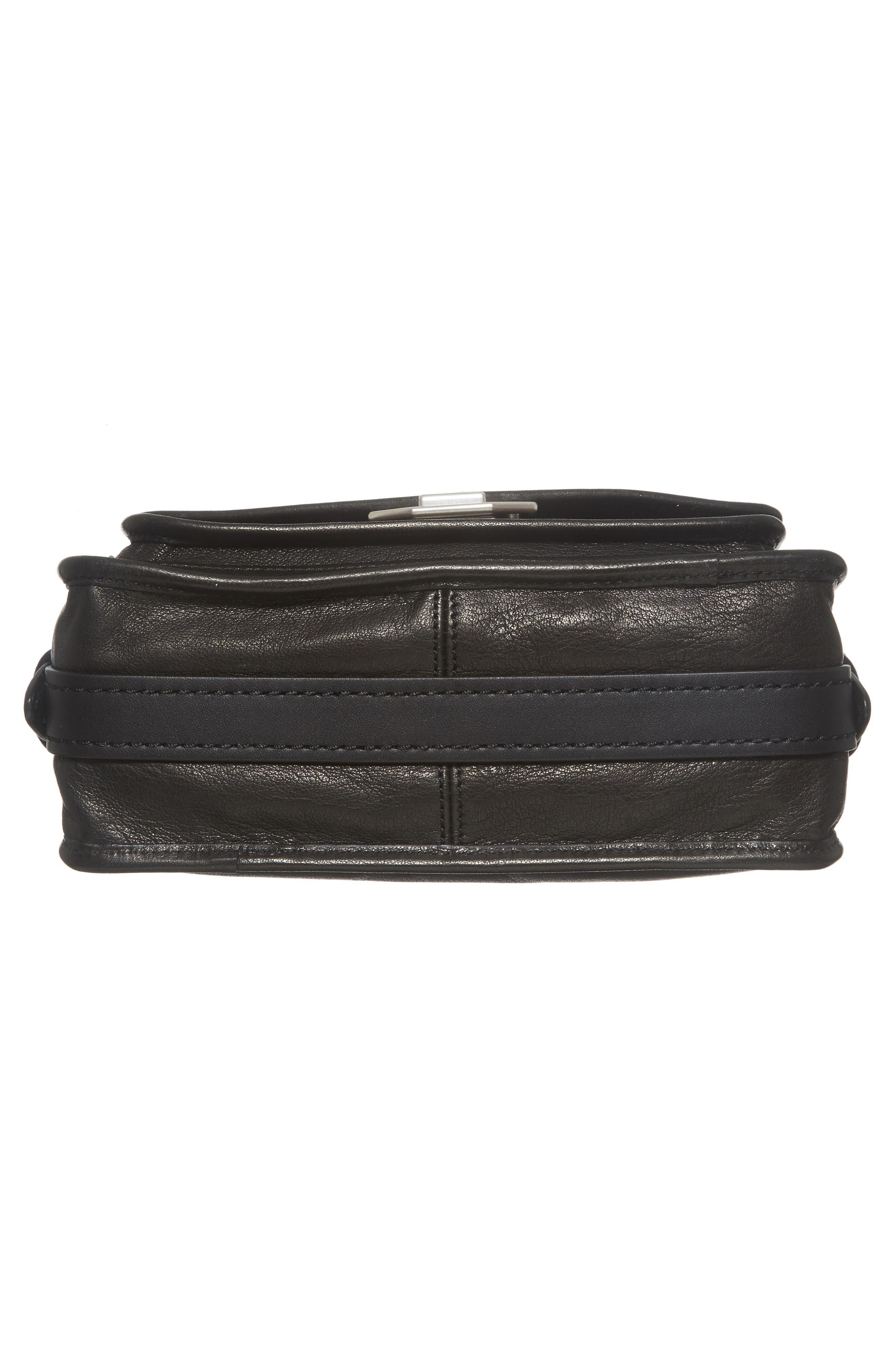 Small Field Leather Messenger Bag,                             Alternate thumbnail 5, color,                             Black