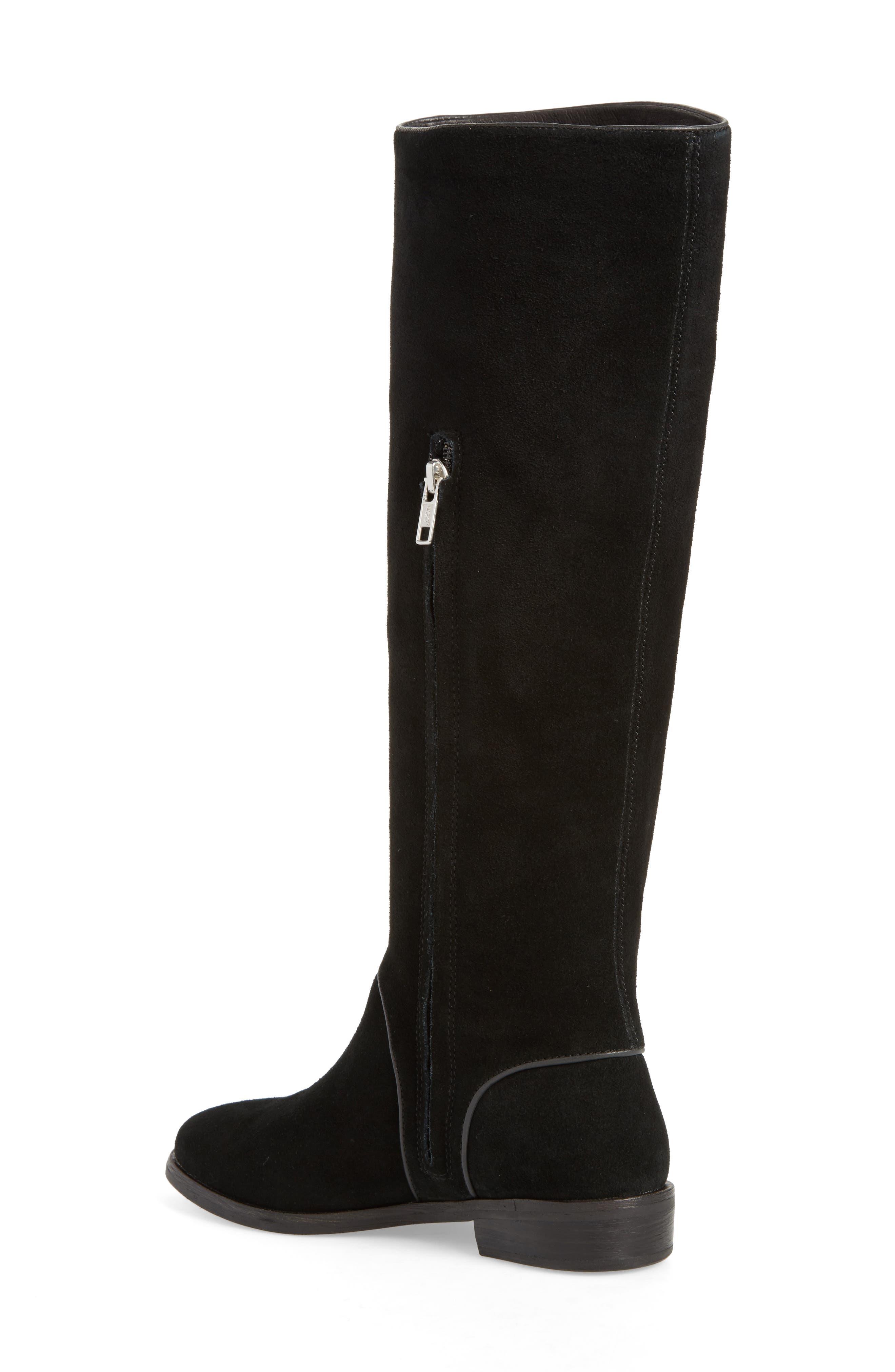 Gracen Knee High Boot,                             Alternate thumbnail 2, color,                             Black Suede