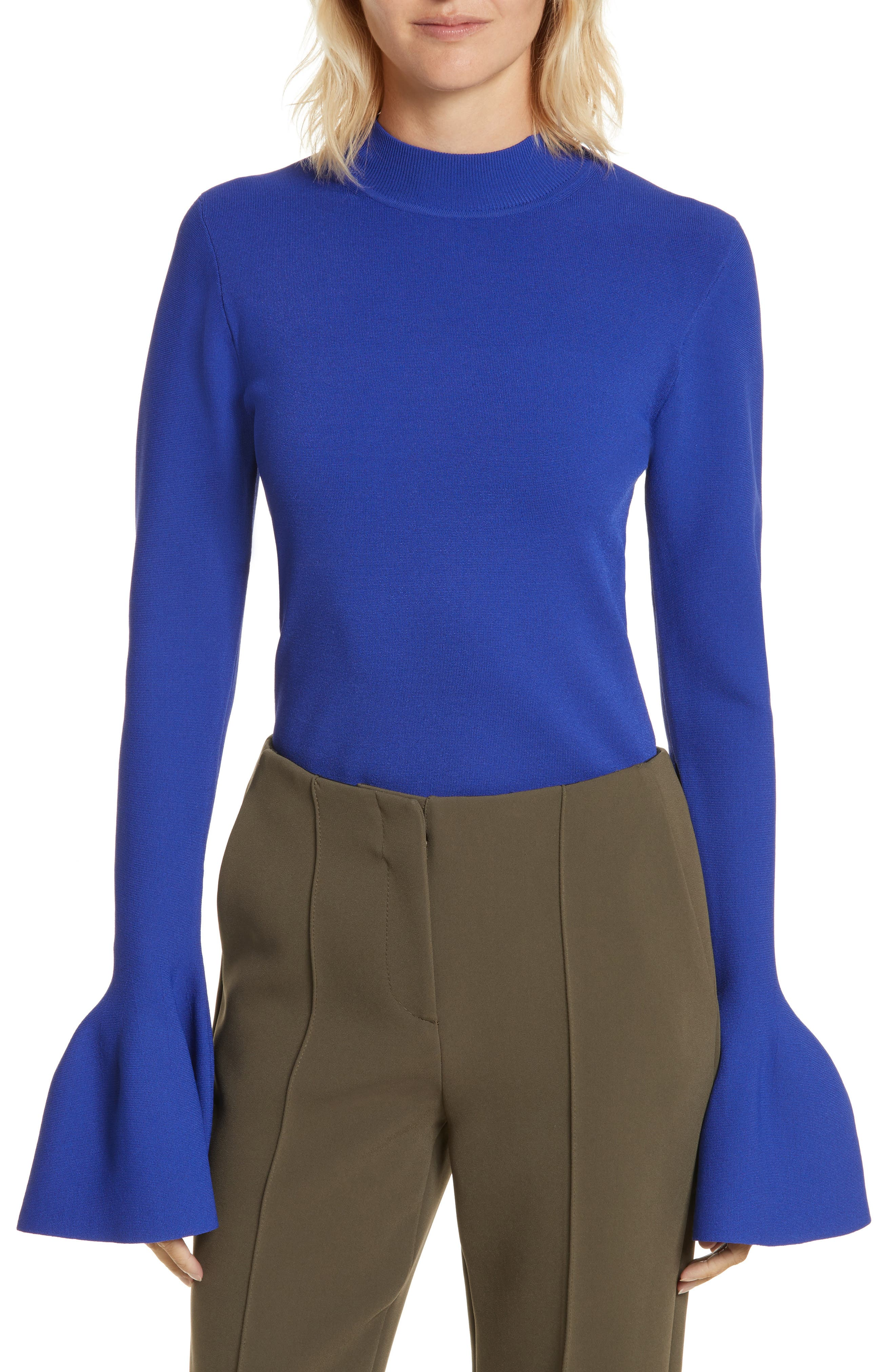 Flutter Sleeve Mock Neck Sweater,                             Main thumbnail 1, color,                             Electric Blue