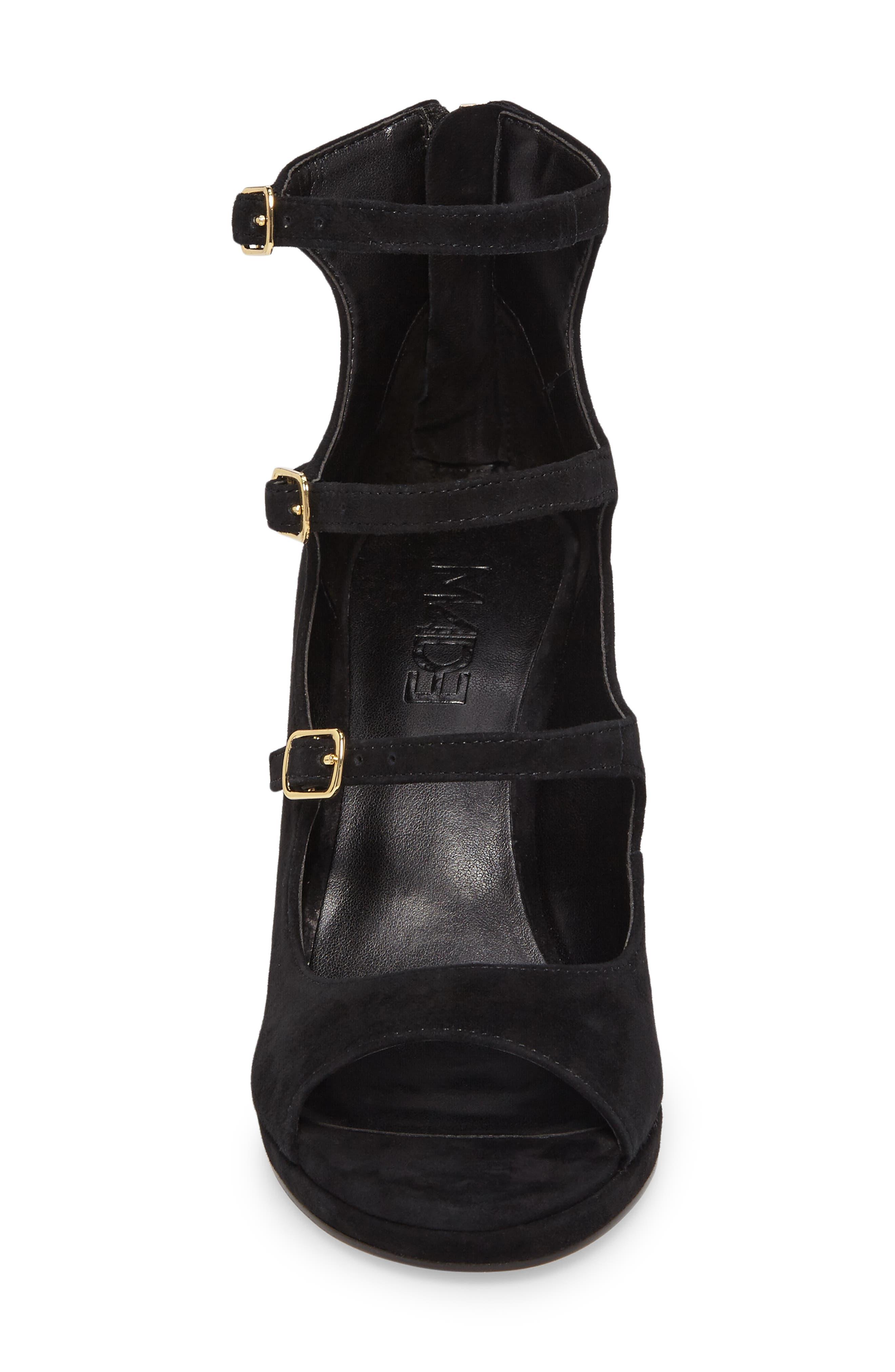 M4D3 Affair Cage Sandal,                             Alternate thumbnail 4, color,                             Black Leather