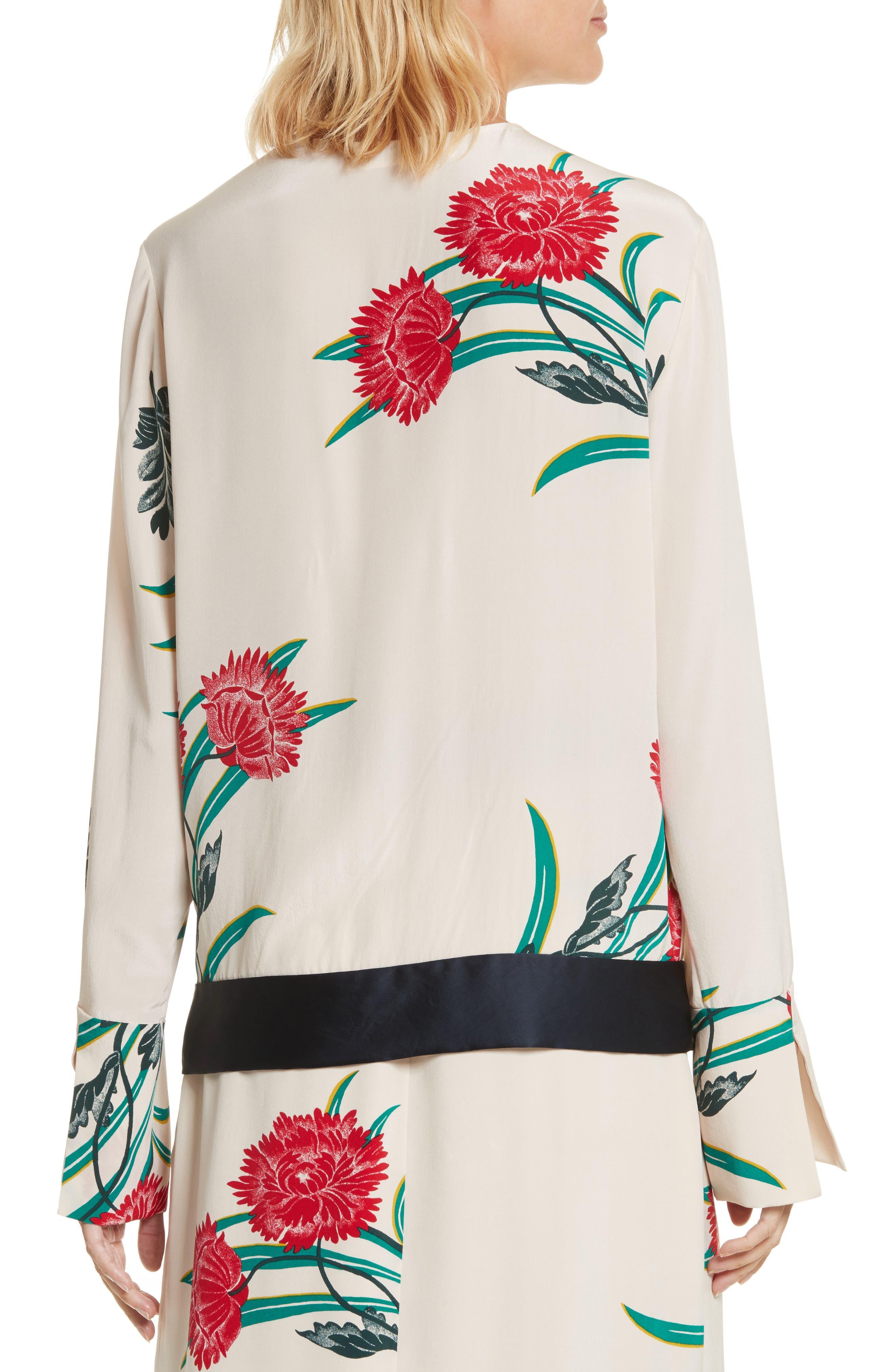 Diane von Furstenberg Bell Sleeve Crossover Silk Blouse,                             Alternate thumbnail 2, color,                             Farren Pearl/ Alex Navy/ Jade