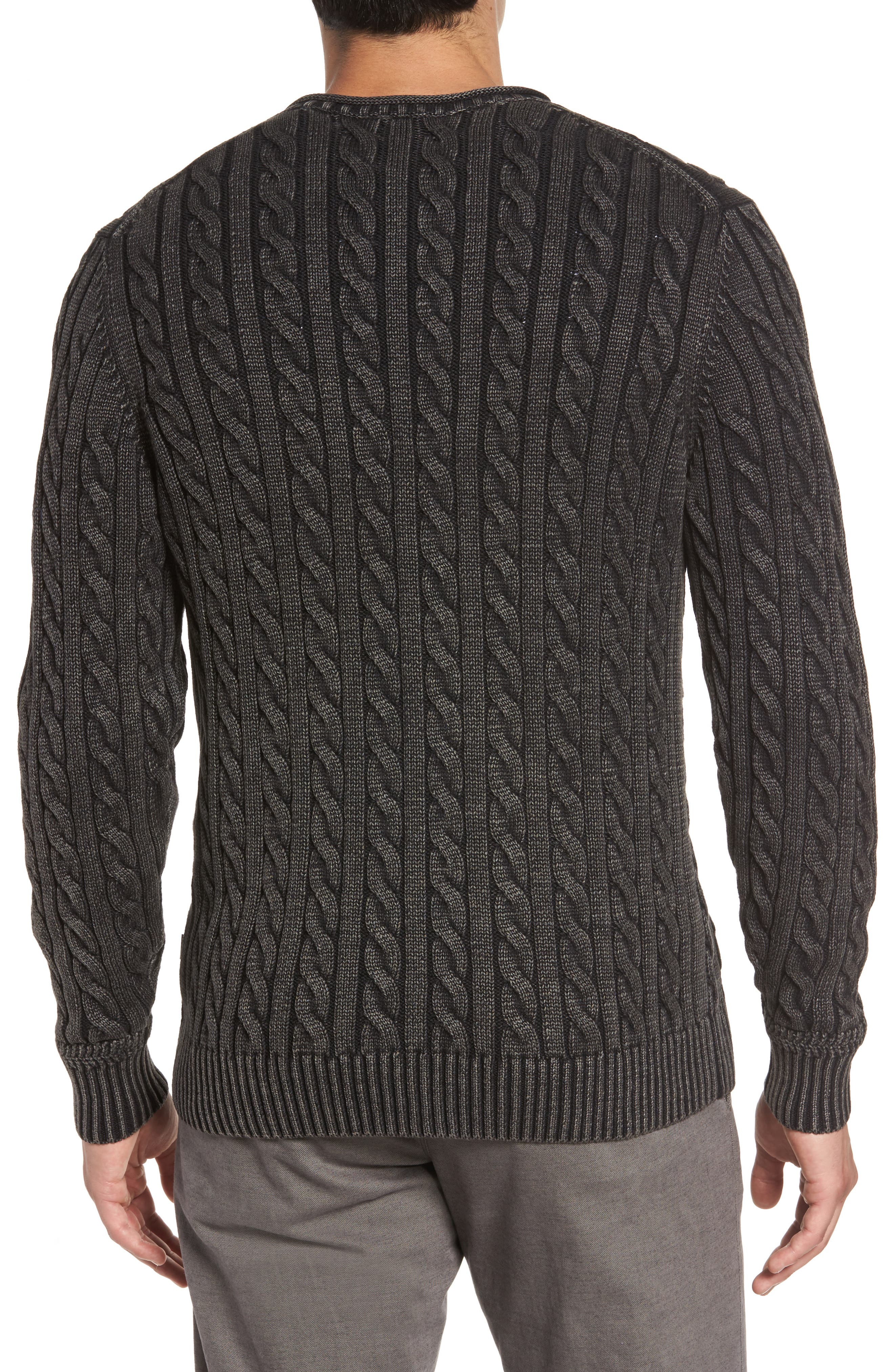 Landray Cable Knit Cotton Sweater,                             Alternate thumbnail 2, color,                             Charcoal