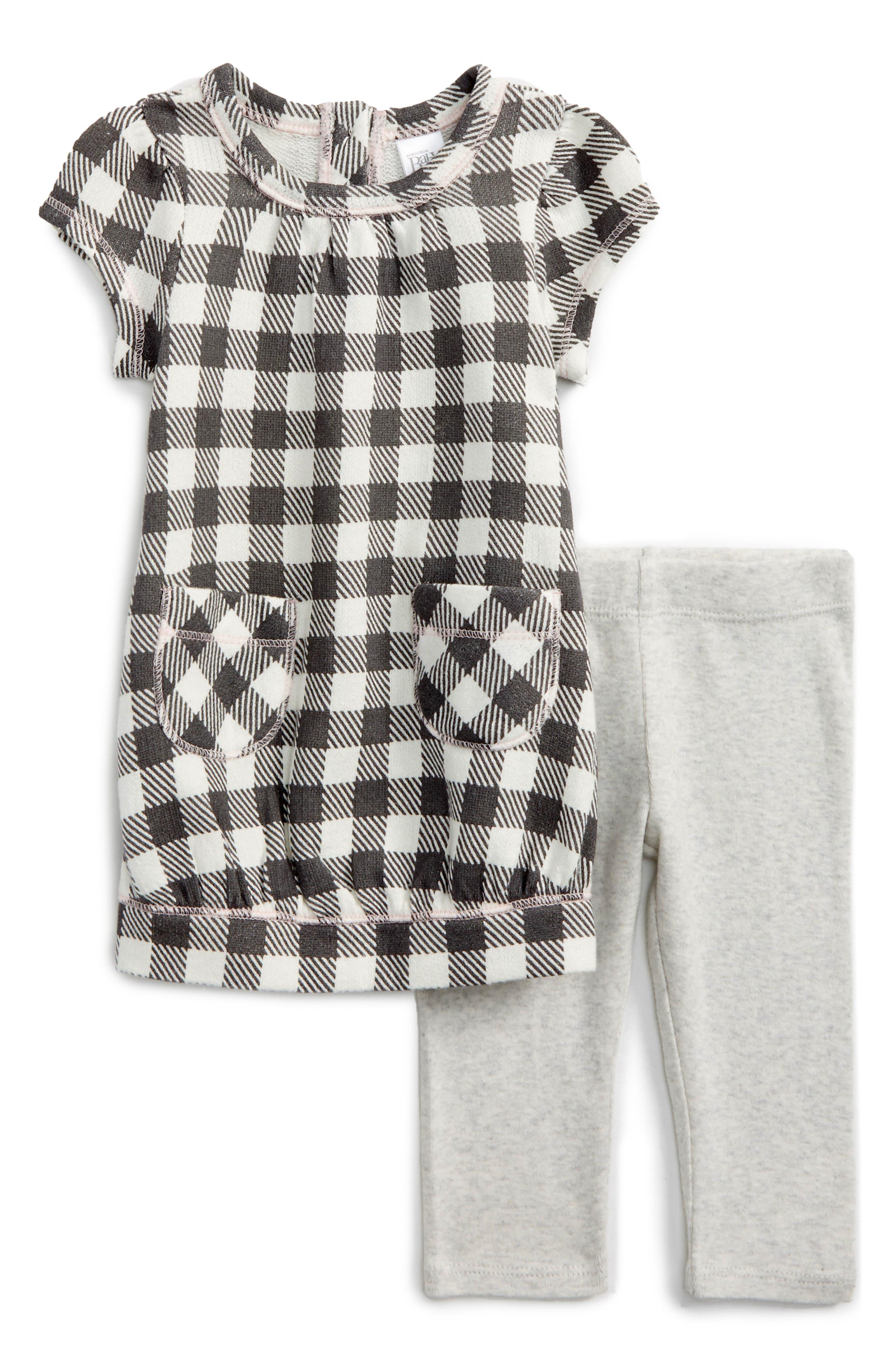 Main Image - Nordstrom Baby Check Print Dress & Solid Leggings Set (Baby Girls)