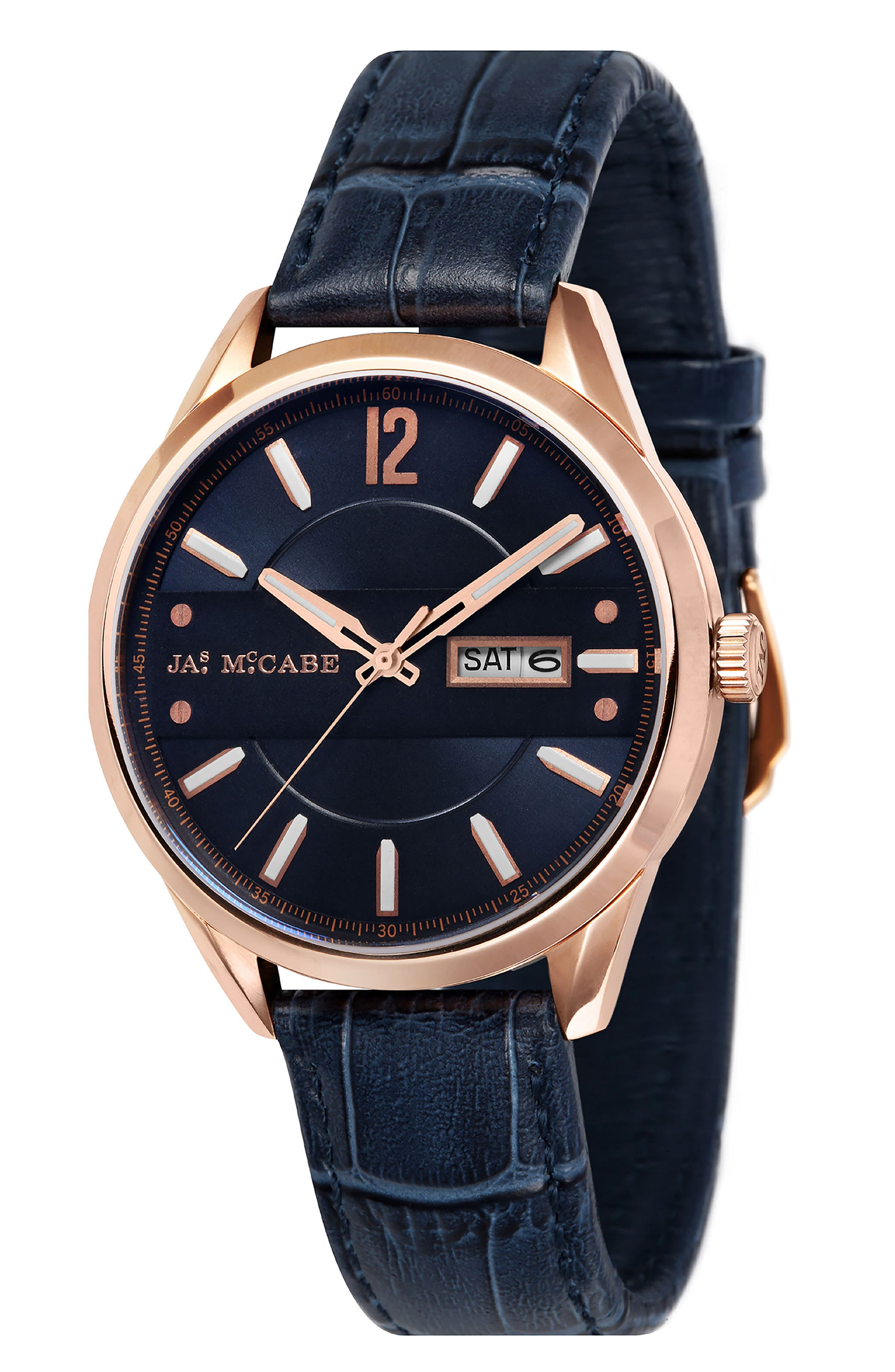 JAMES MCCABE New Belfast Slim Leather Strap Watch, 38mm