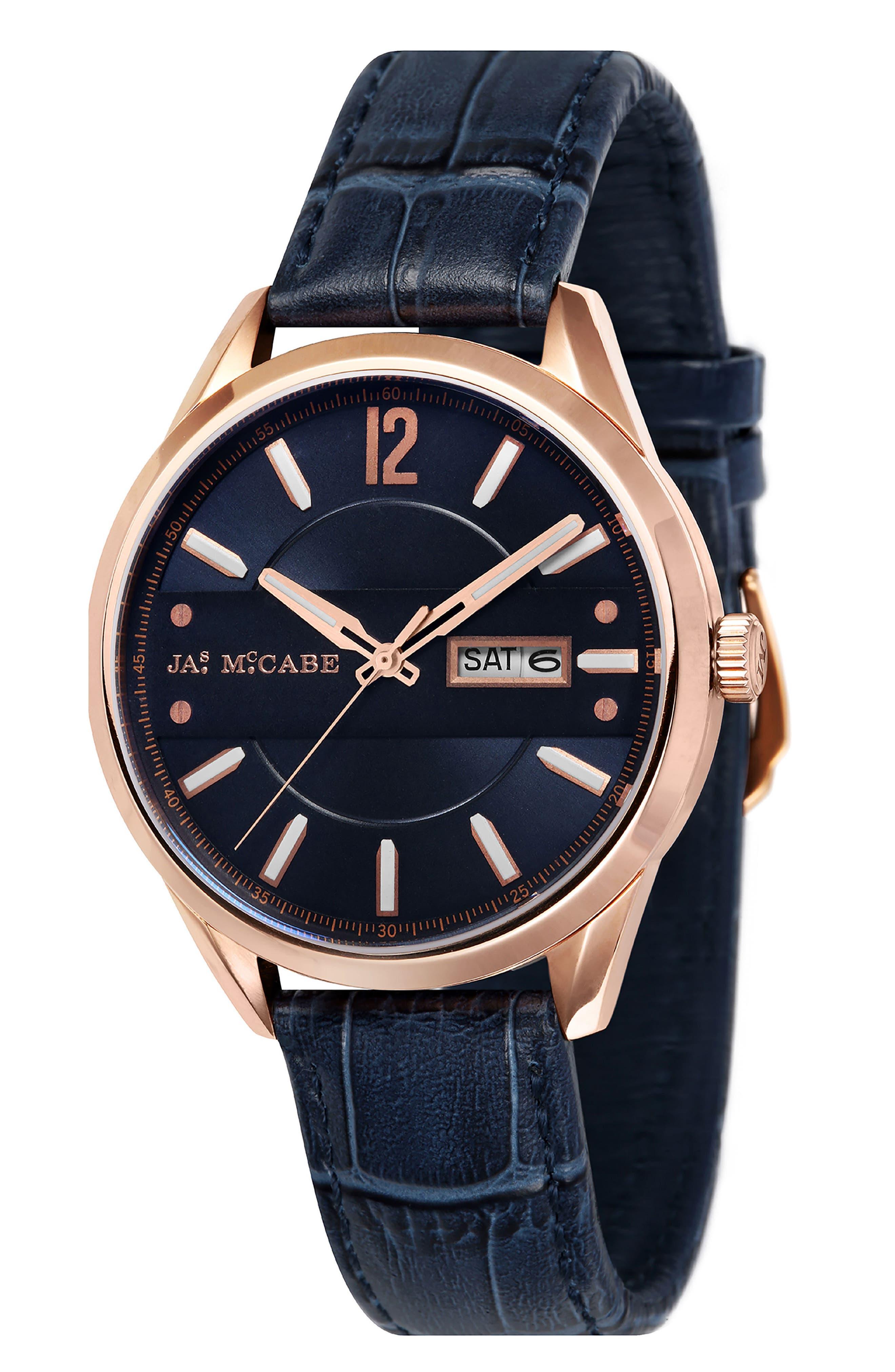 James McCabe New Belfast Slim Leather Strap Watch, 38mm