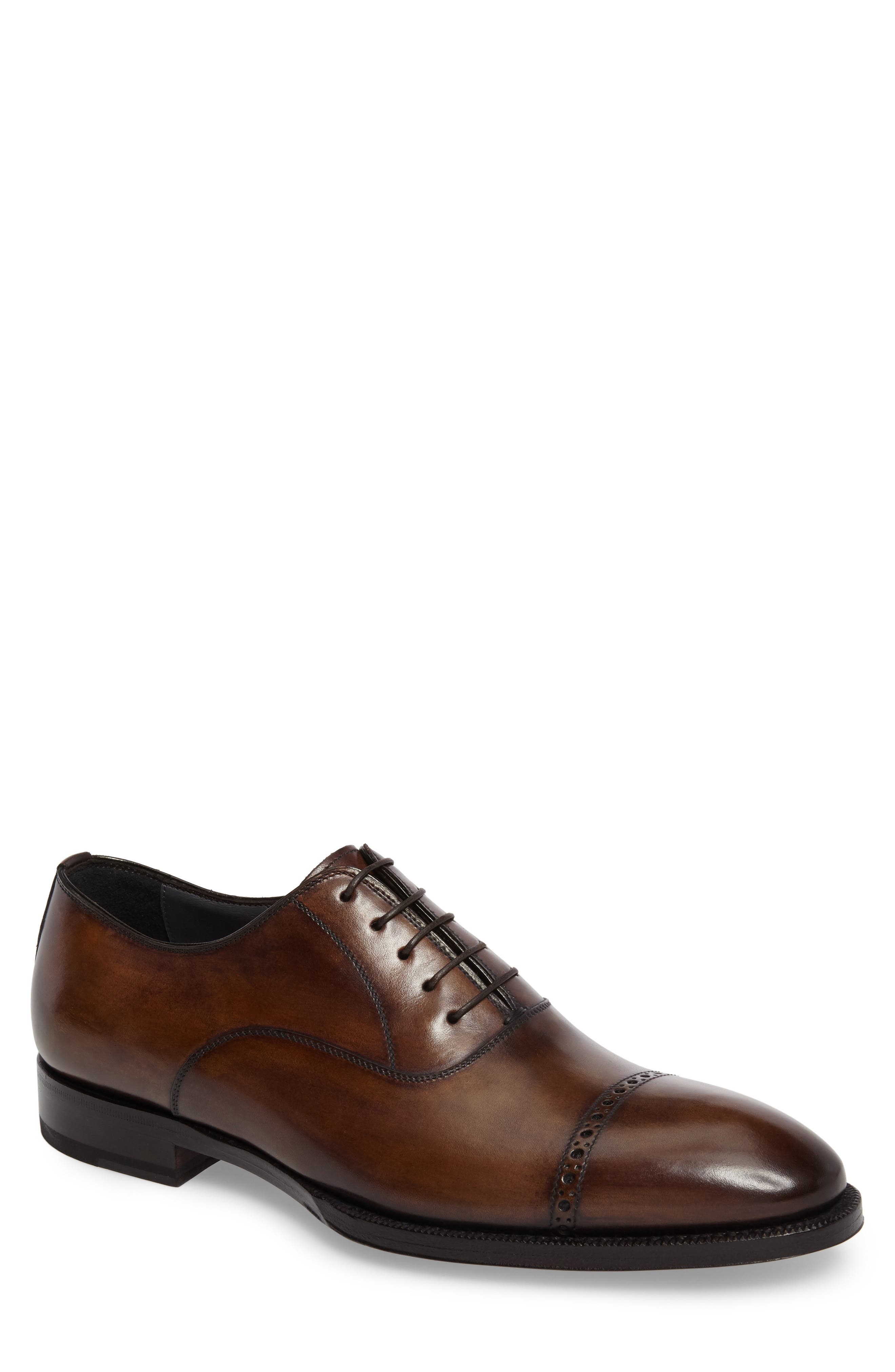 DiGallo Bianco Cap Toe Oxford,                             Main thumbnail 1, color,                             Zenzero Leather