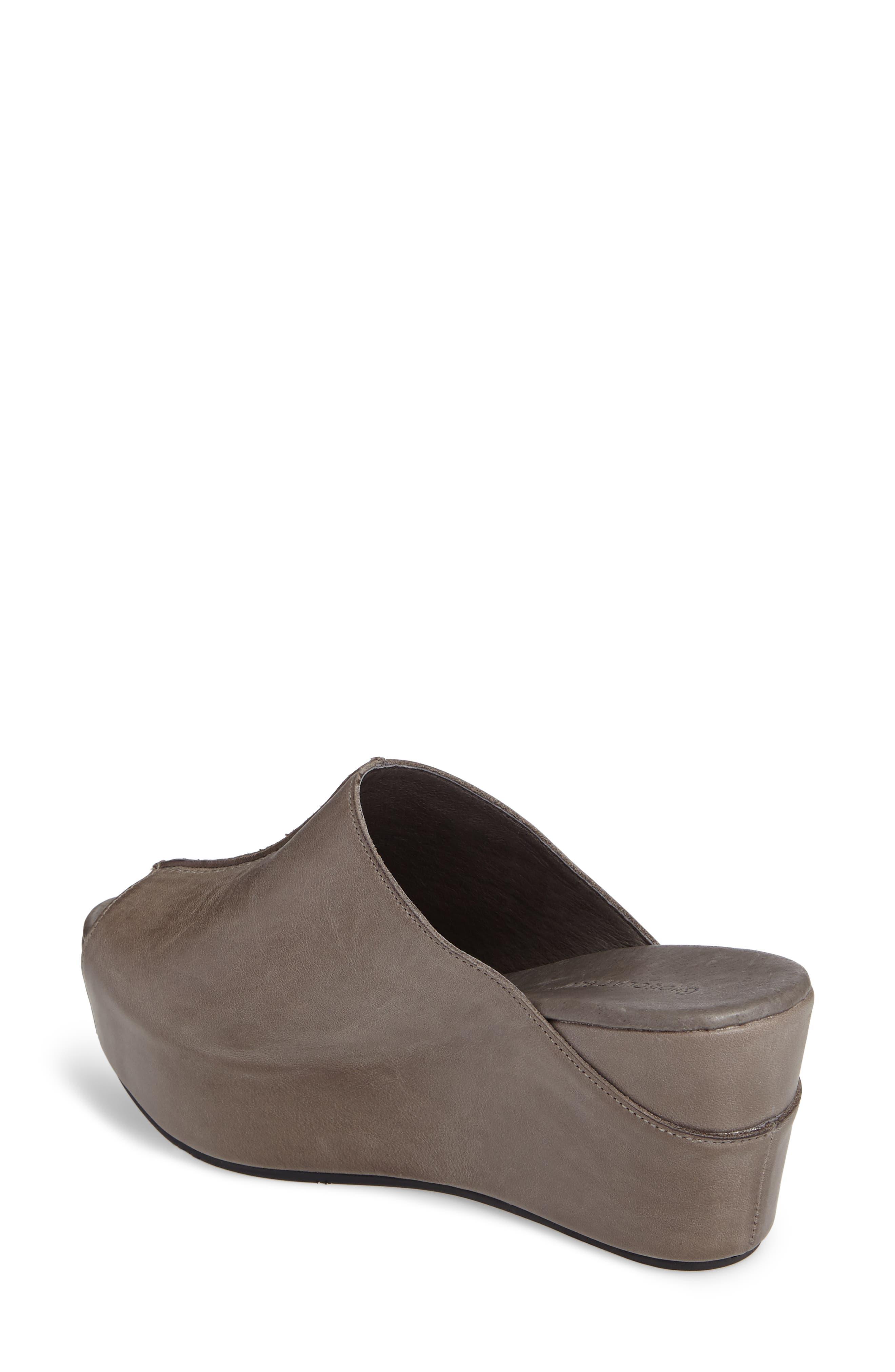 Wynn Peep Toe Mule,                             Alternate thumbnail 2, color,                             Graphite Leather