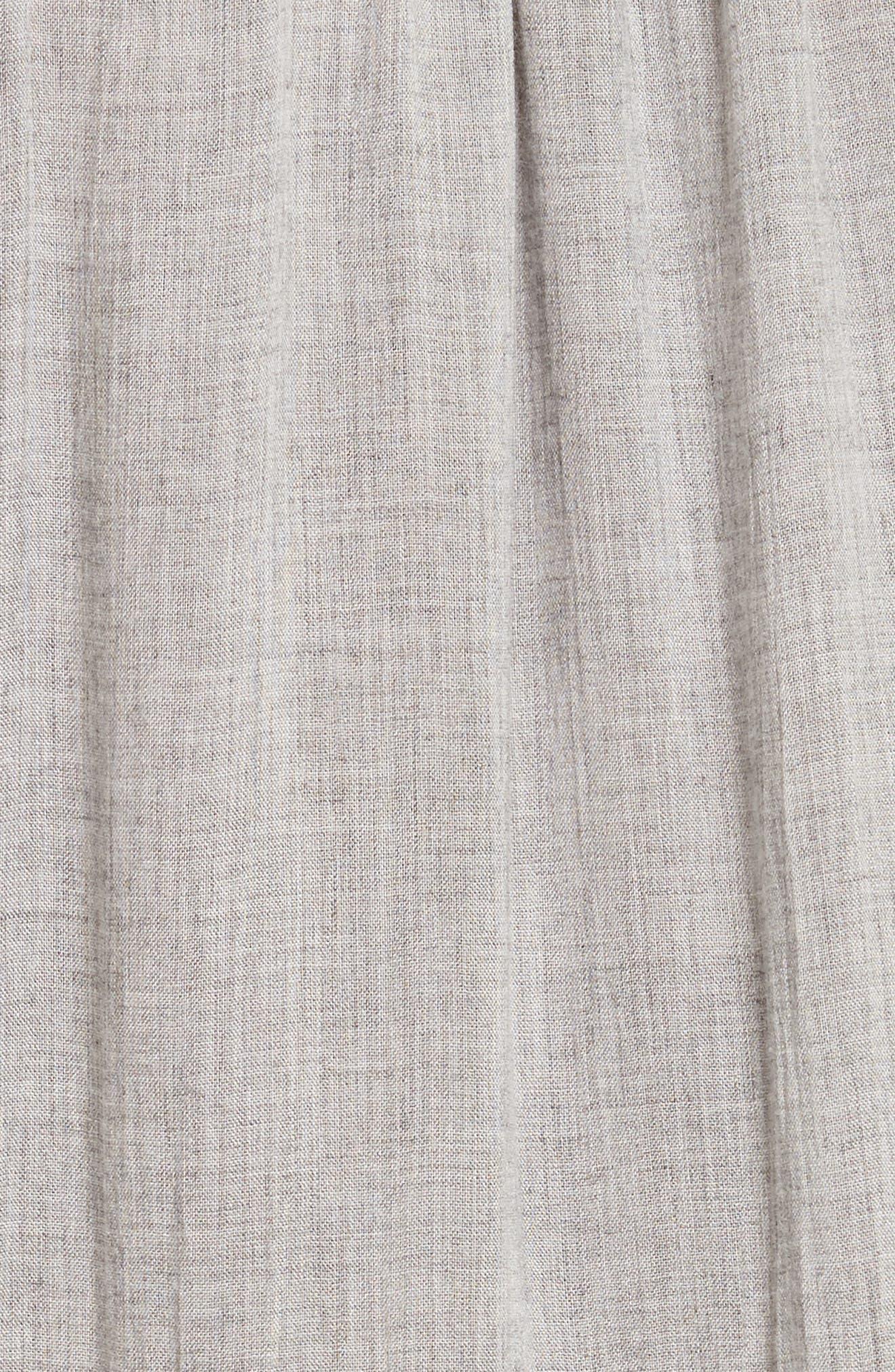Lace Trim Gauze Drawstring Midi Dress,                             Alternate thumbnail 5, color,                             Heather Grey