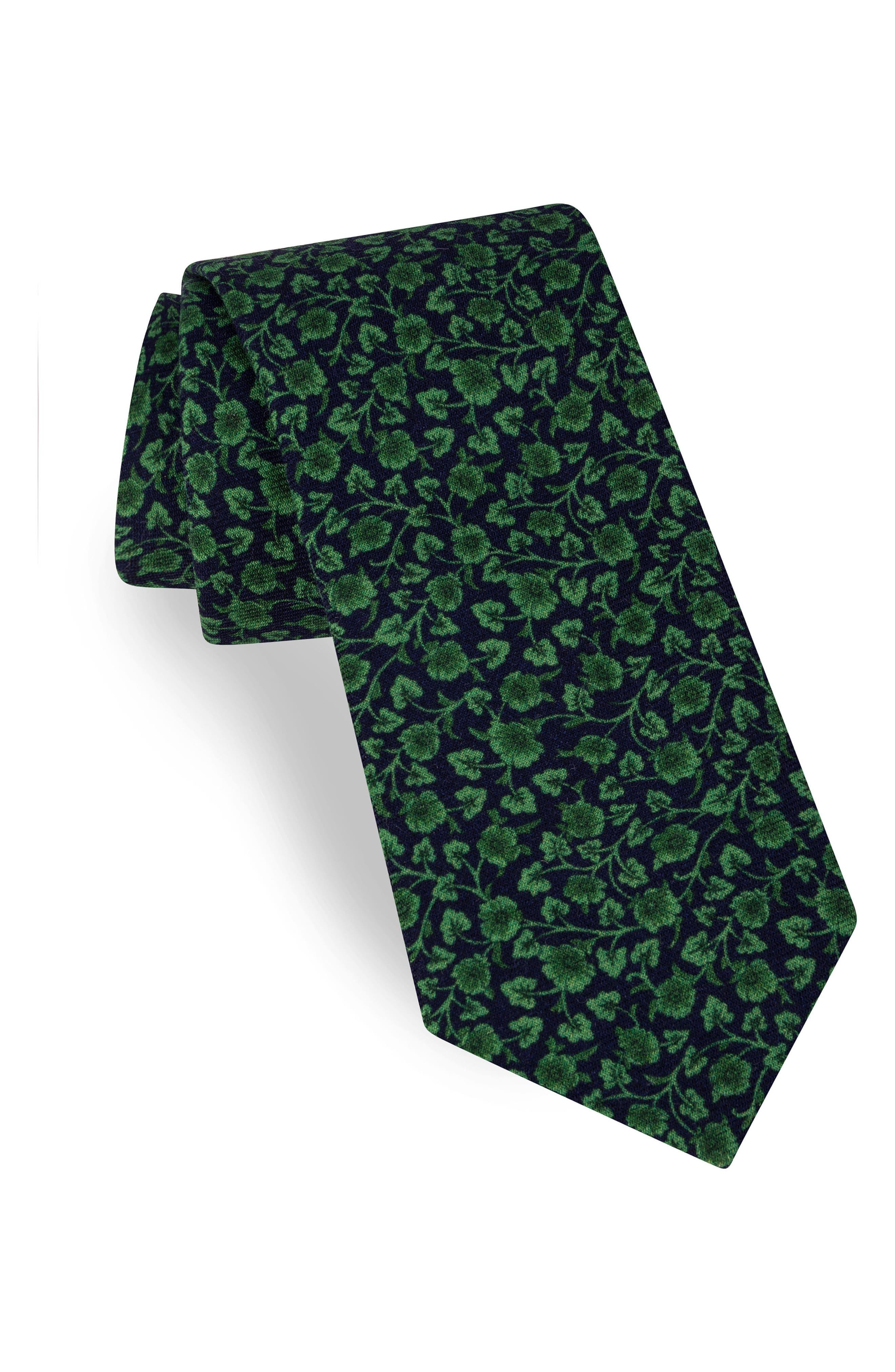 Floral Silk Tie,                         Main,                         color, Green