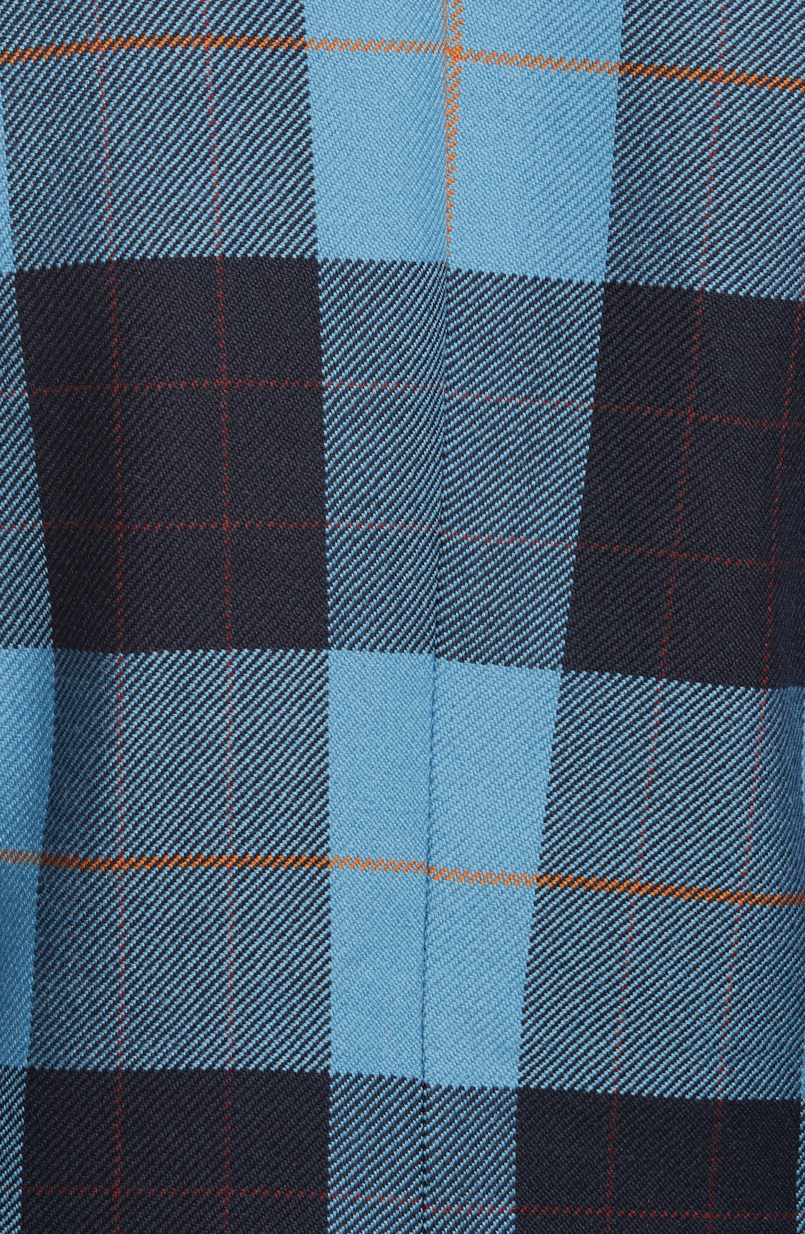 Taped Peak Lapel Plaid Blazer,                             Alternate thumbnail 5, color,                             Blue Plaid W/ Black