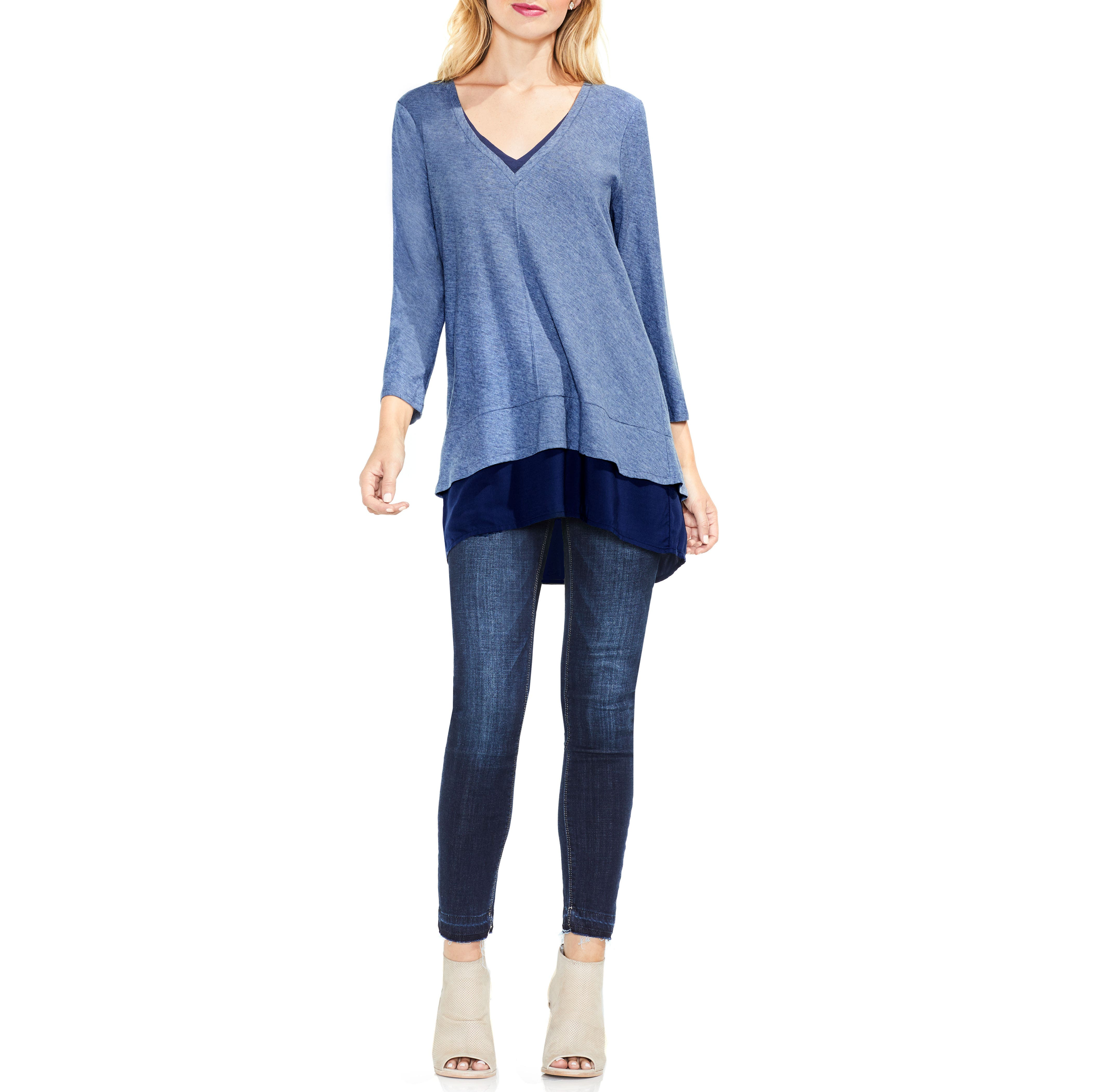 Alternate Image 2  - Two by Vince Camuto Mixed Media Tunic (Regular & Petite)