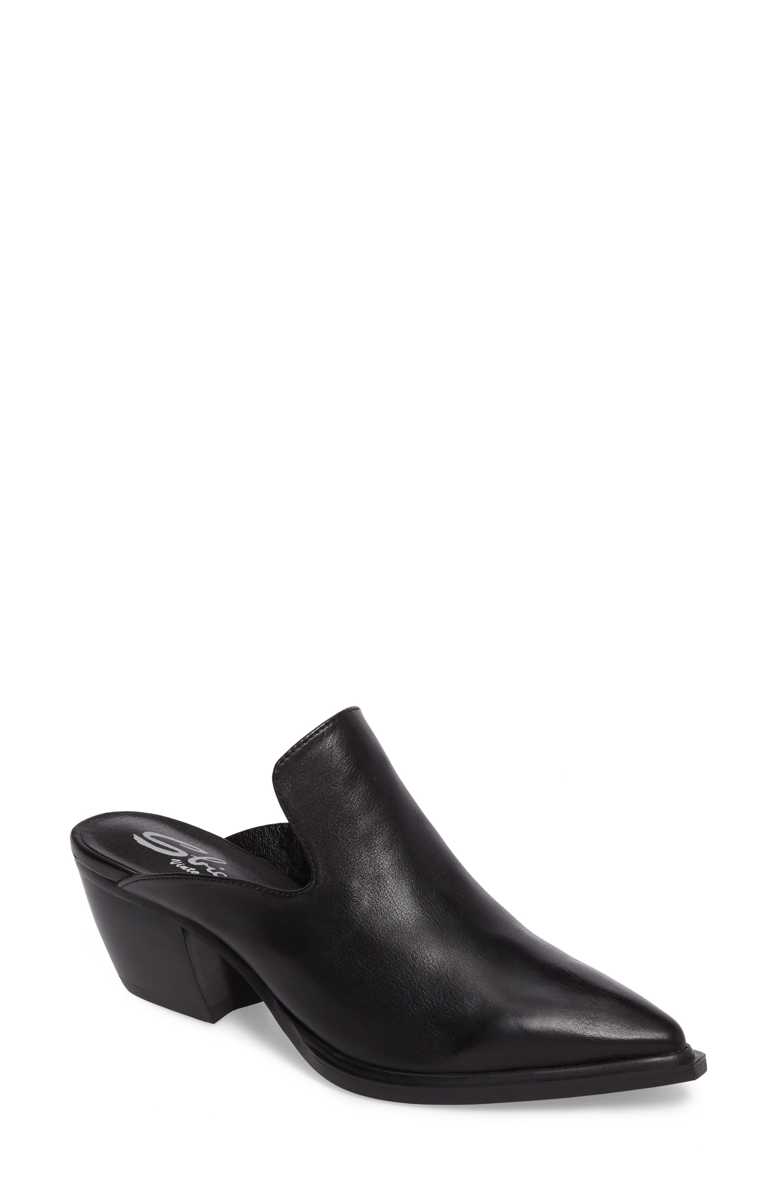 Mulah Pointy Toe Mule,                             Main thumbnail 1, color,                             Black Leather